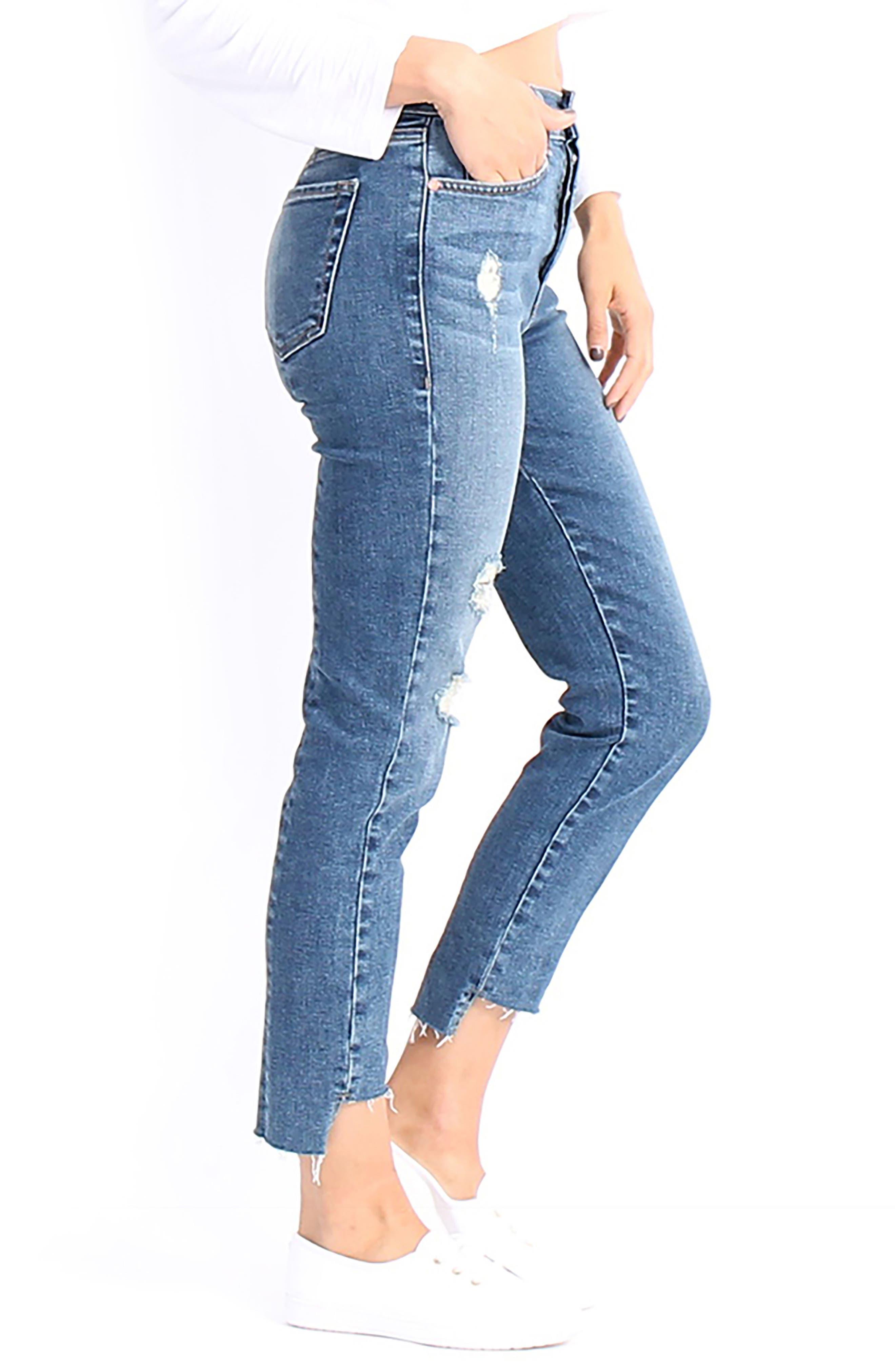 Skylar High-Waist Step Hem Distressed Jeans,                             Alternate thumbnail 3, color,                             411