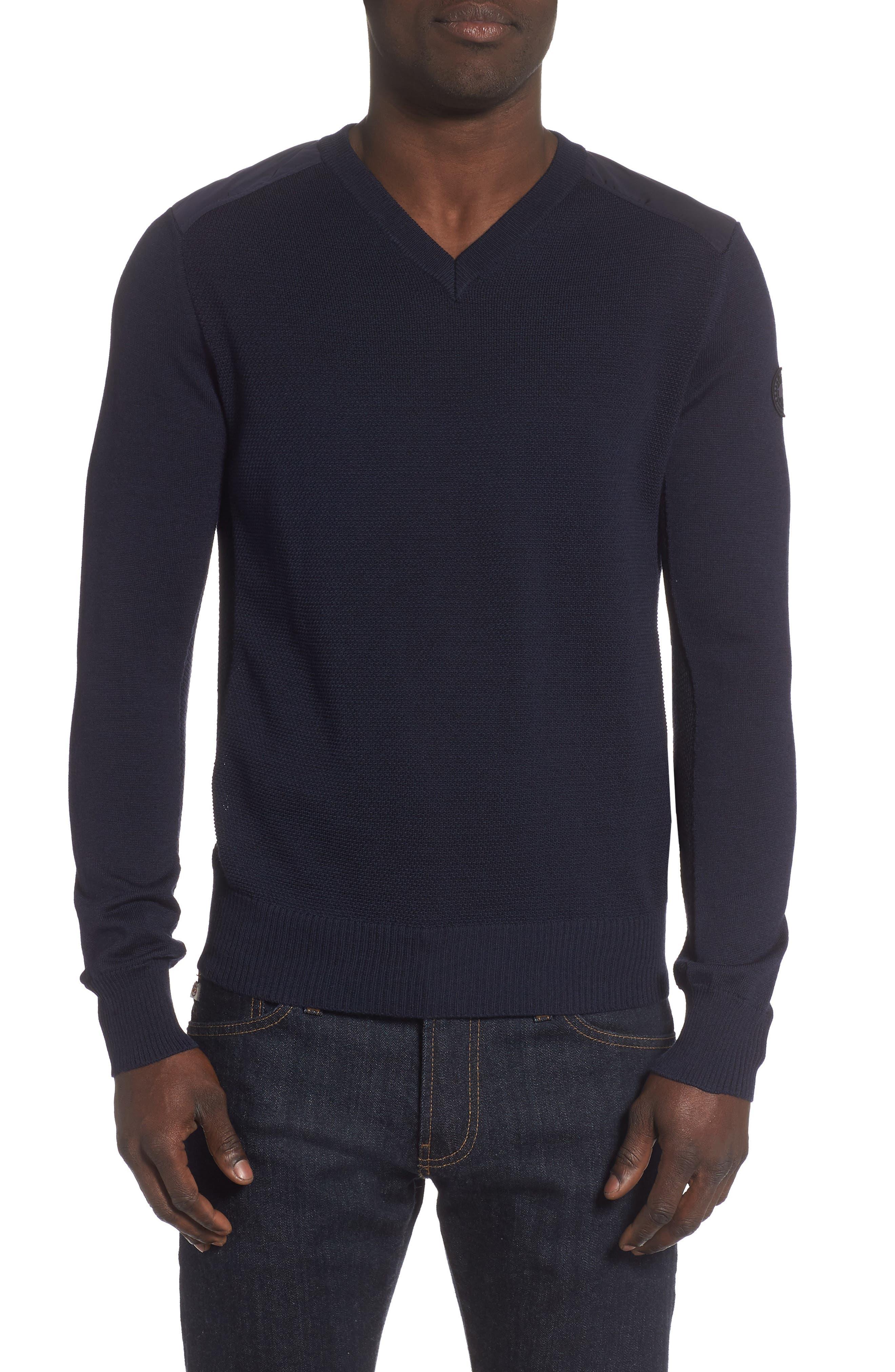 Canada Goose Mcleod V-Neck Regular Fit Merino Wool Sweater, Blue