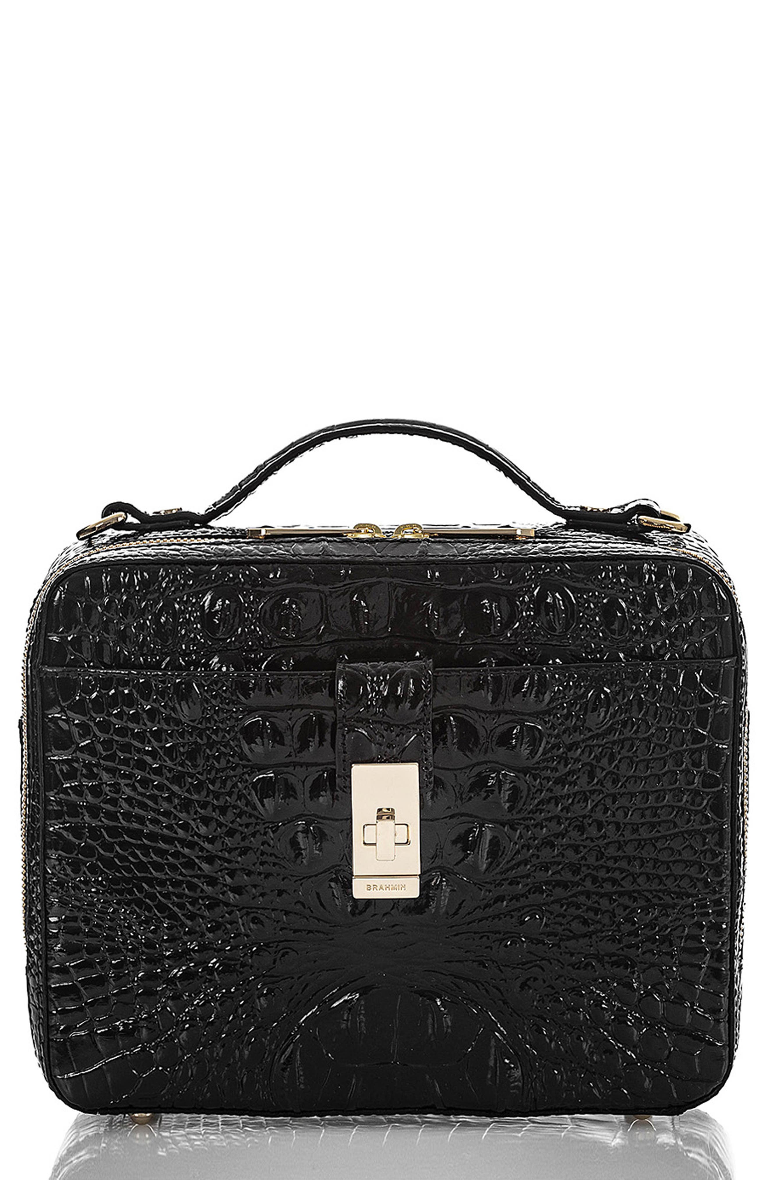 Evie Croc Embossed Leather Top Handle Bag,                             Main thumbnail 1, color,                             BLACK MEMBOURNE