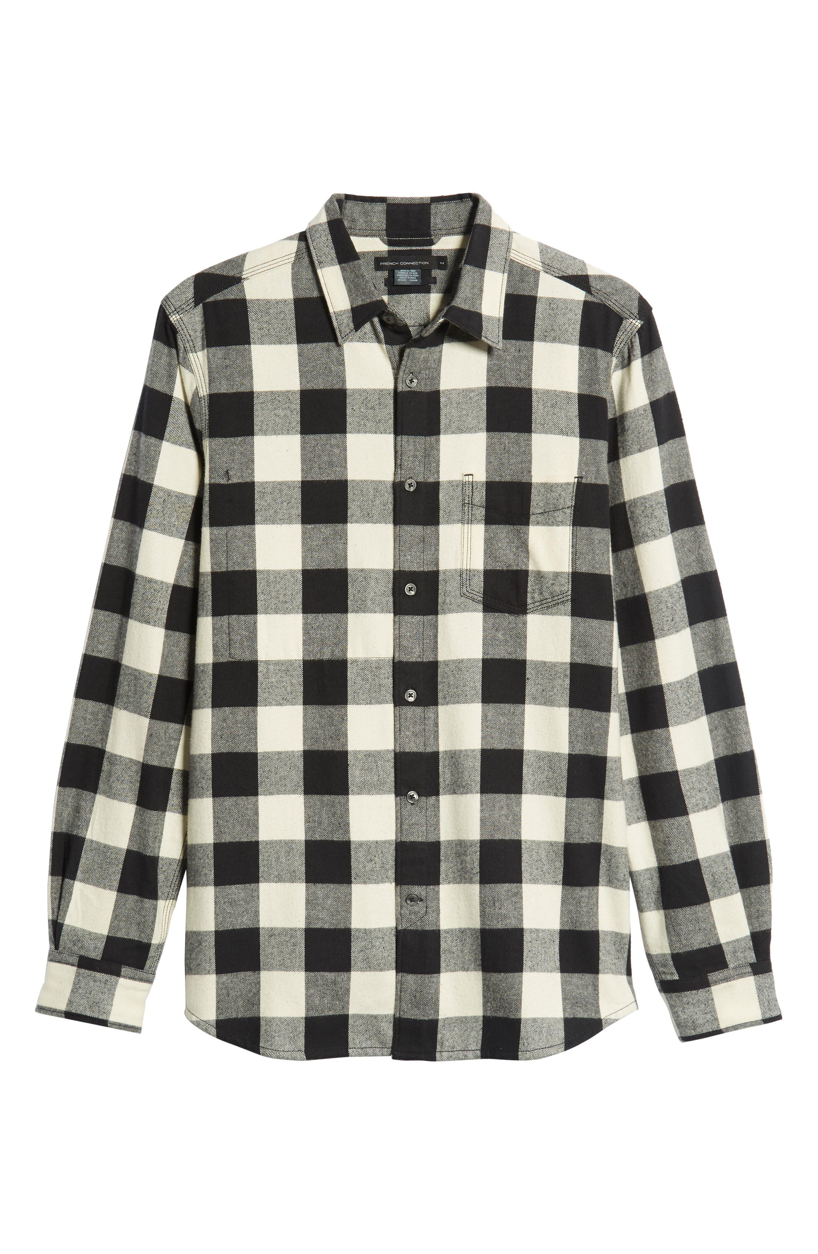 Kahama Regular Fit Flannel Sport Shirt,                             Alternate thumbnail 5, color,                             BLACK WHITECAP GREY