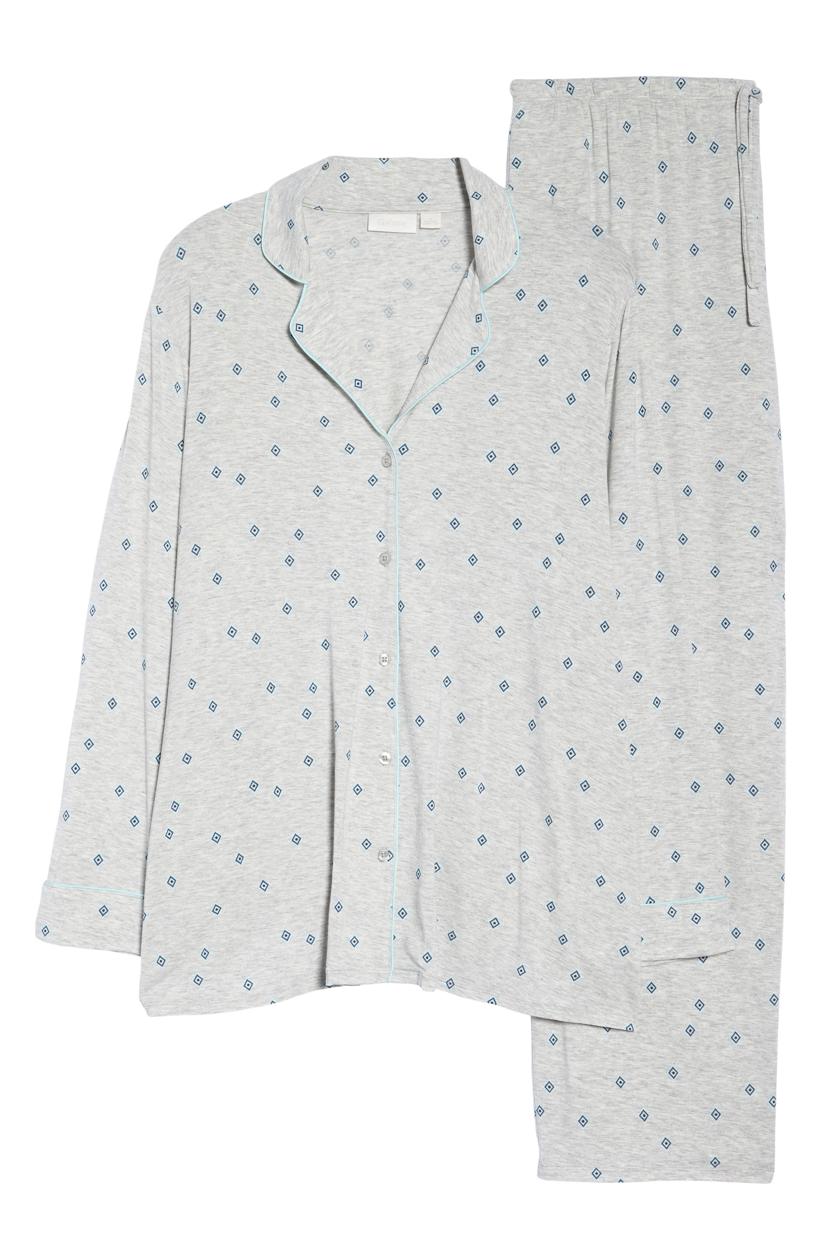 'Moonlight' Pajamas,                             Alternate thumbnail 6, color,                             GREY PEARL HTR FLIRTY FOULARD