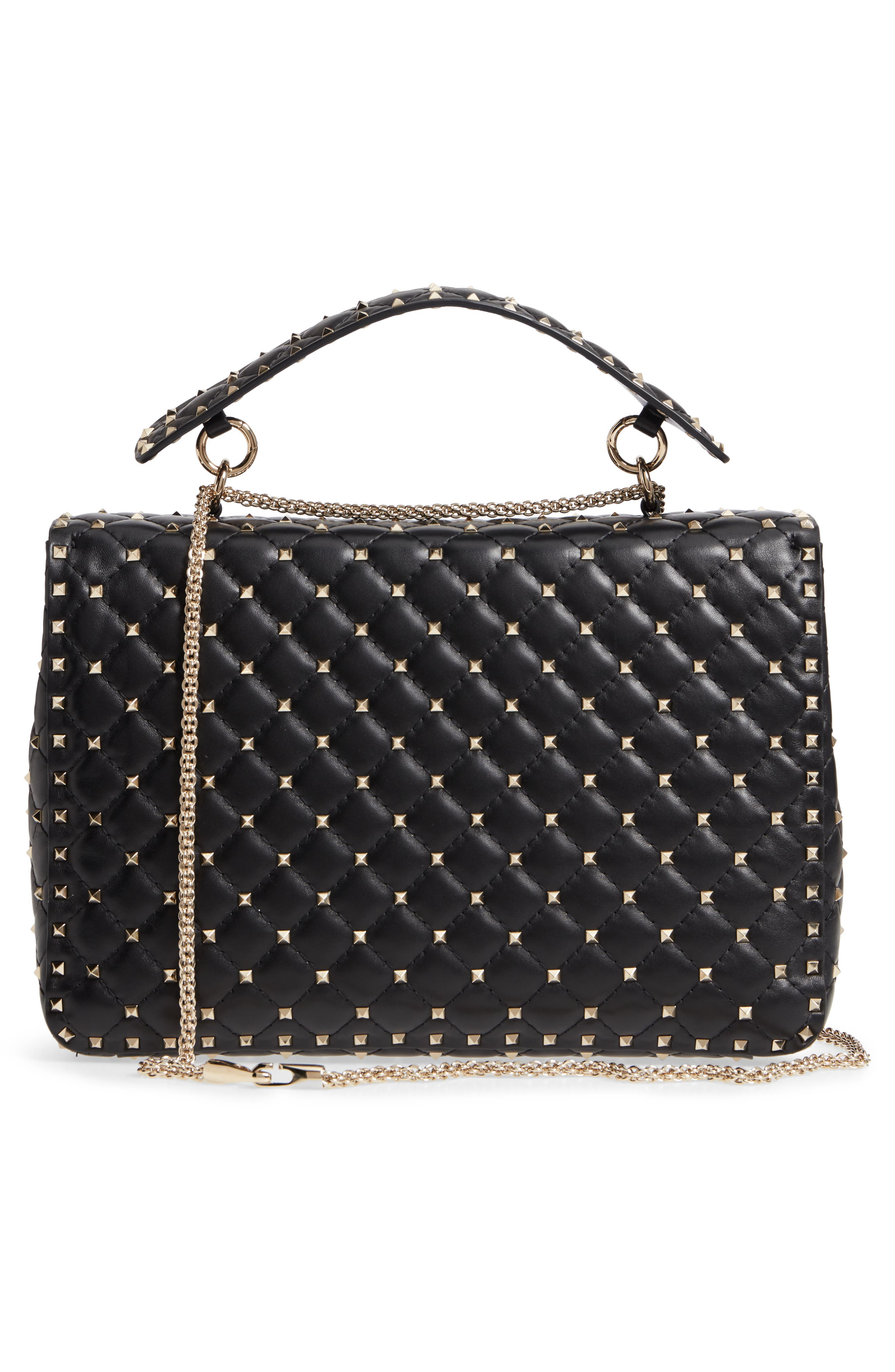 Rockstud Spike Maxi Shoulder Bag,                             Alternate thumbnail 3, color,                             BLACK