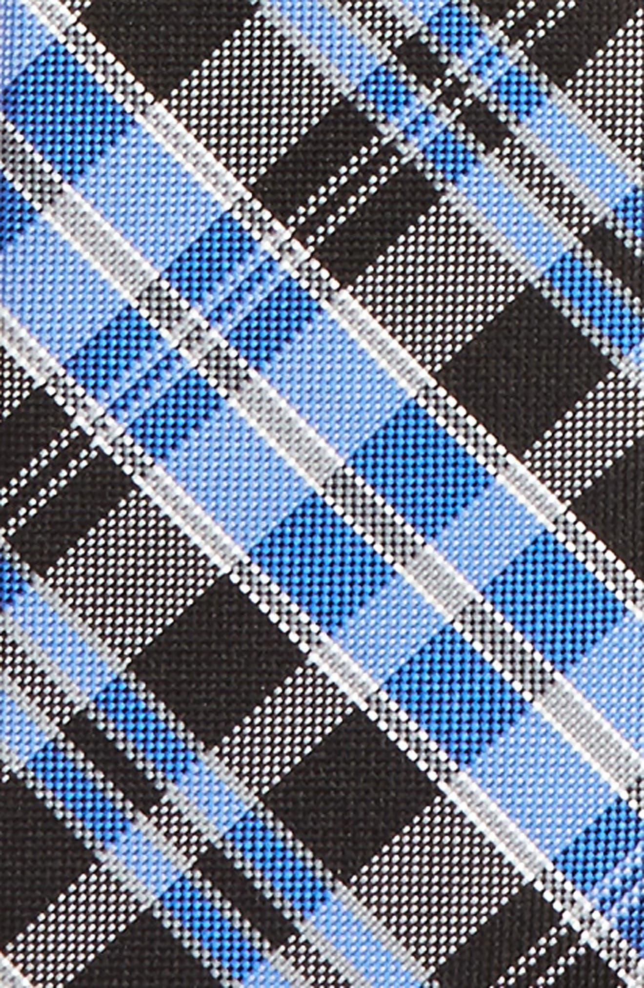 Plaid Silk Zip Tie,                             Alternate thumbnail 2, color,                             001