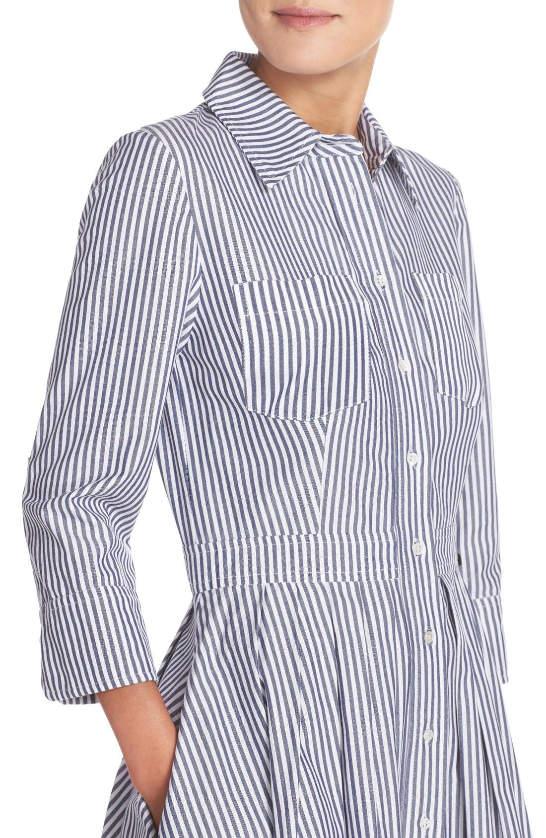 Stripe Cotton Shirtdress,                             Alternate thumbnail 6, color,                             421