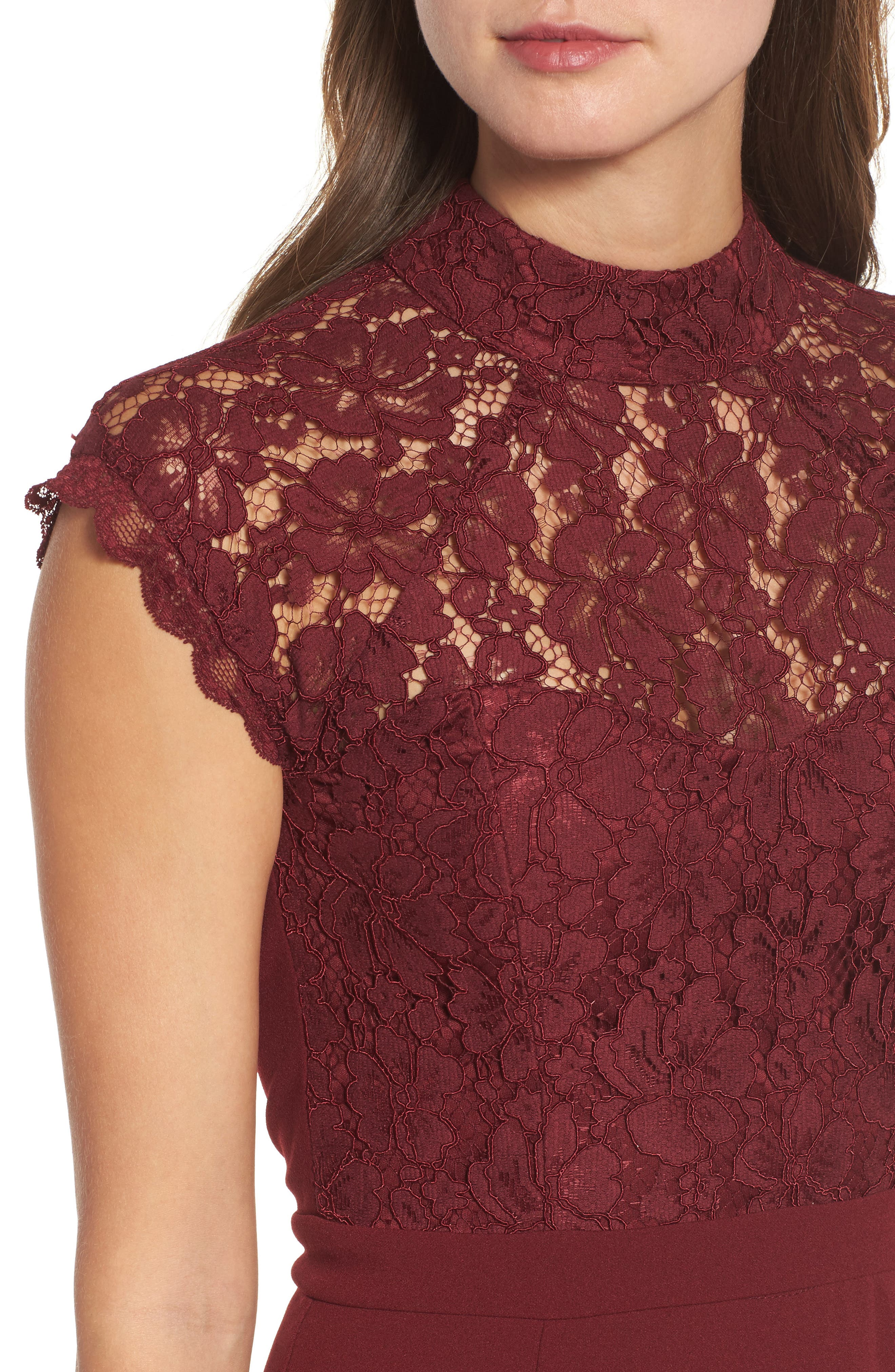 Lace Bodice Mermaid Gown,                             Alternate thumbnail 4, color,                             WINE