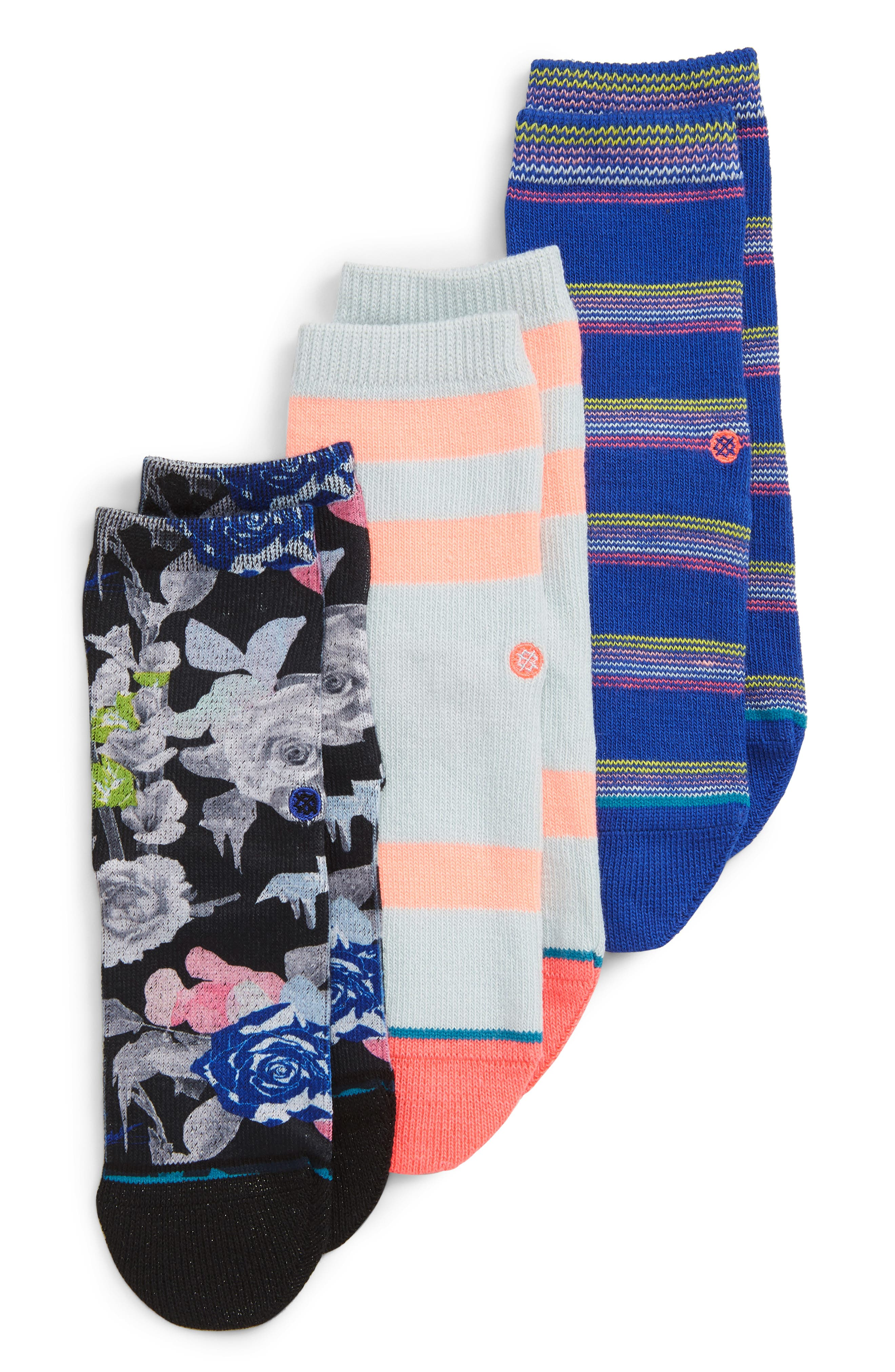Toddler Girls Stance Le Fleur 3Pack Ankle Socks Size 24years  Blue