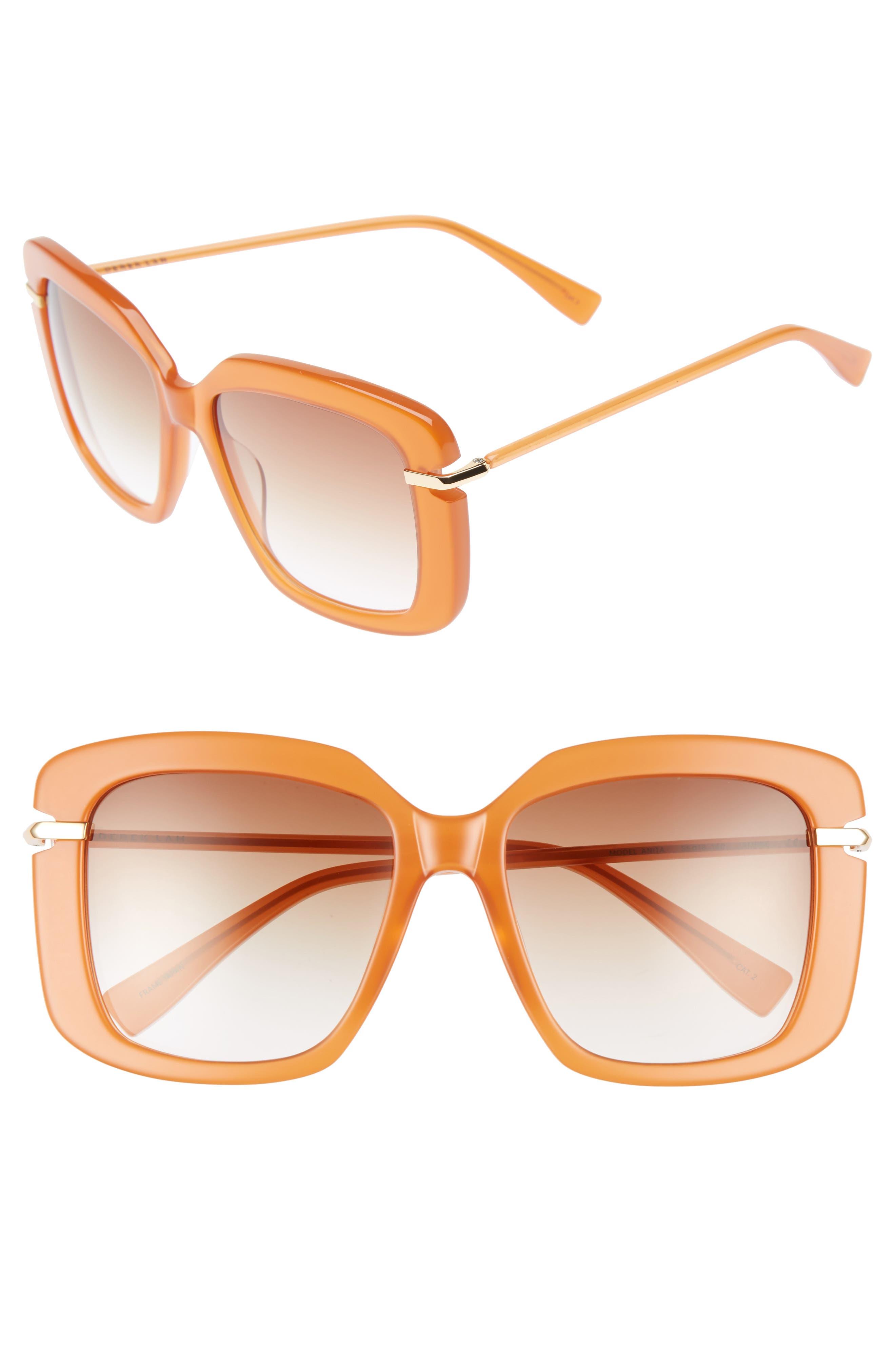 Anita 55mm Square Sunglasses,                             Main thumbnail 1, color,                             AMBER