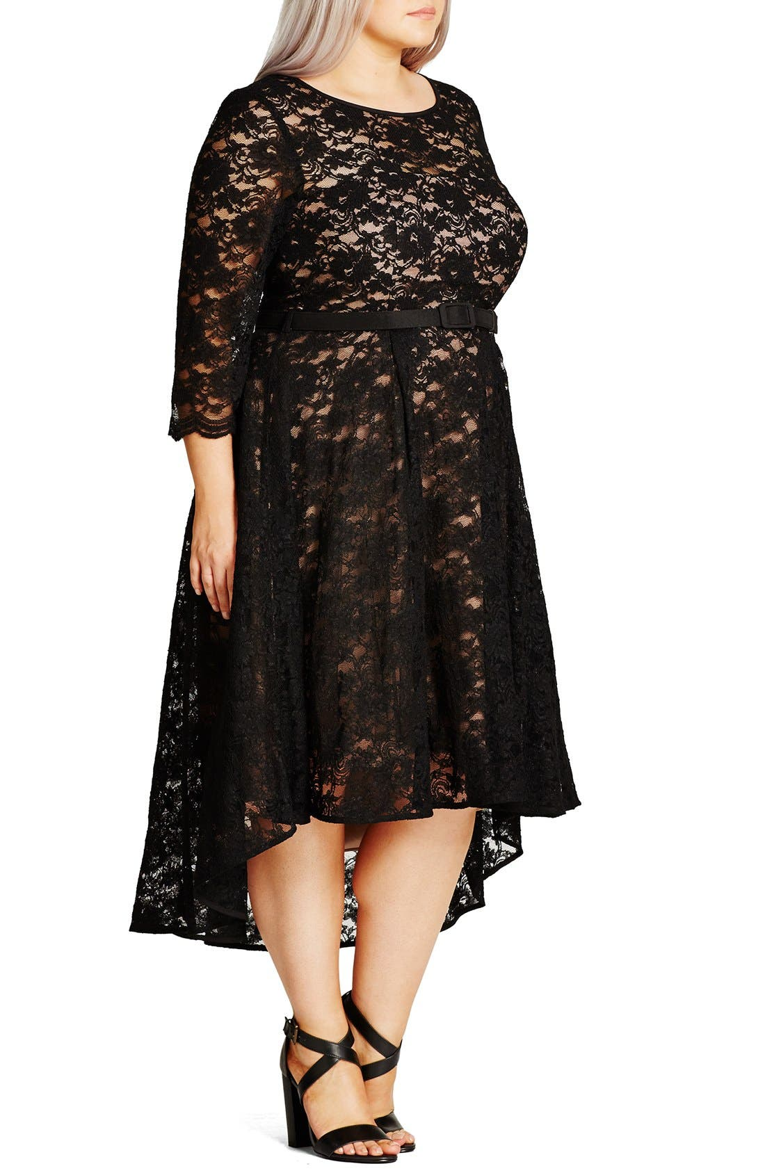 'Lace Lover' High/Low Midi Dress,                             Alternate thumbnail 3, color,                             BLACK
