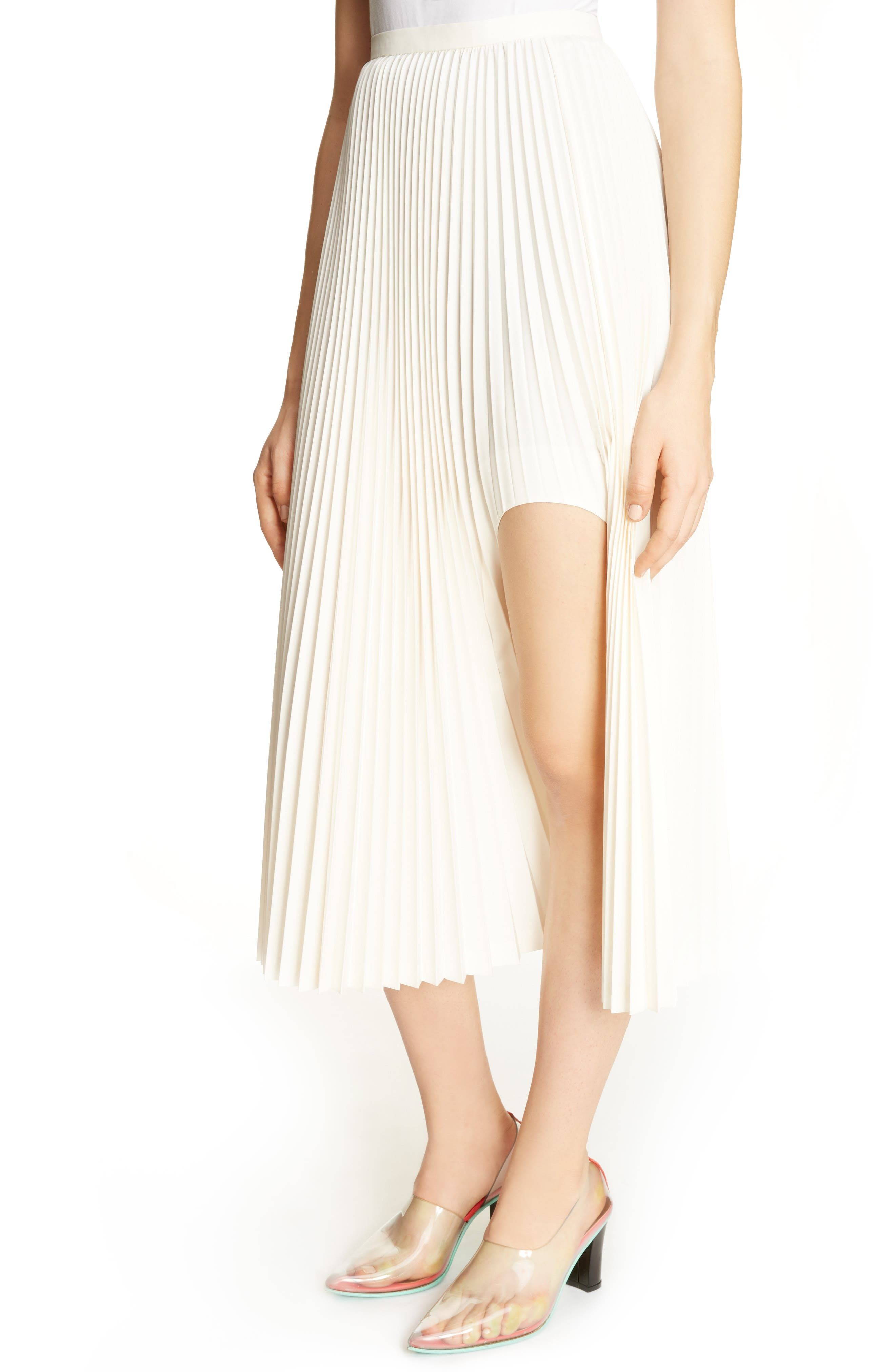 Pleated Keyhole Skirt,                             Alternate thumbnail 4, color,                             100