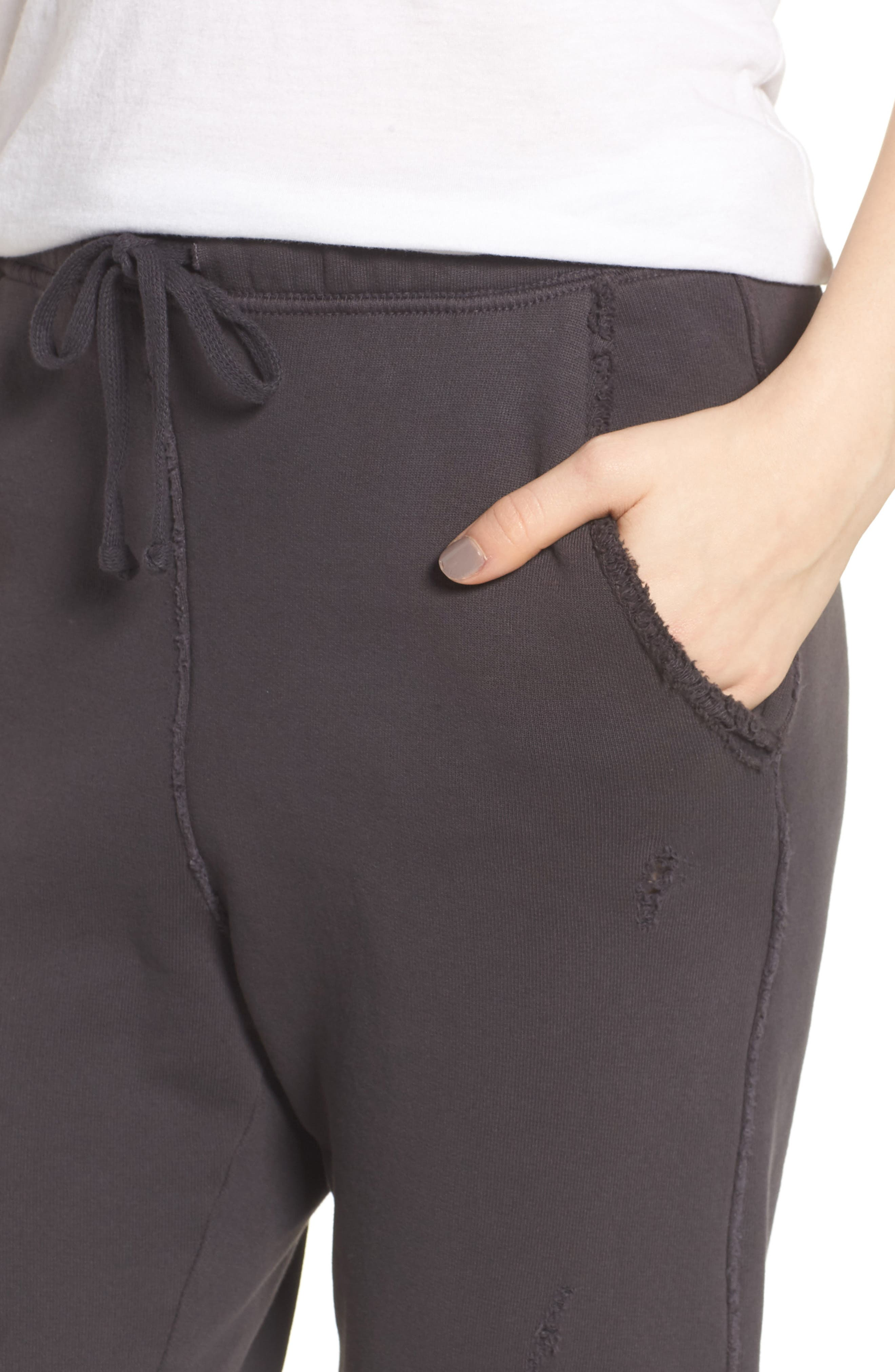Crop Sweatpants,                             Alternate thumbnail 4, color,                             CARBON