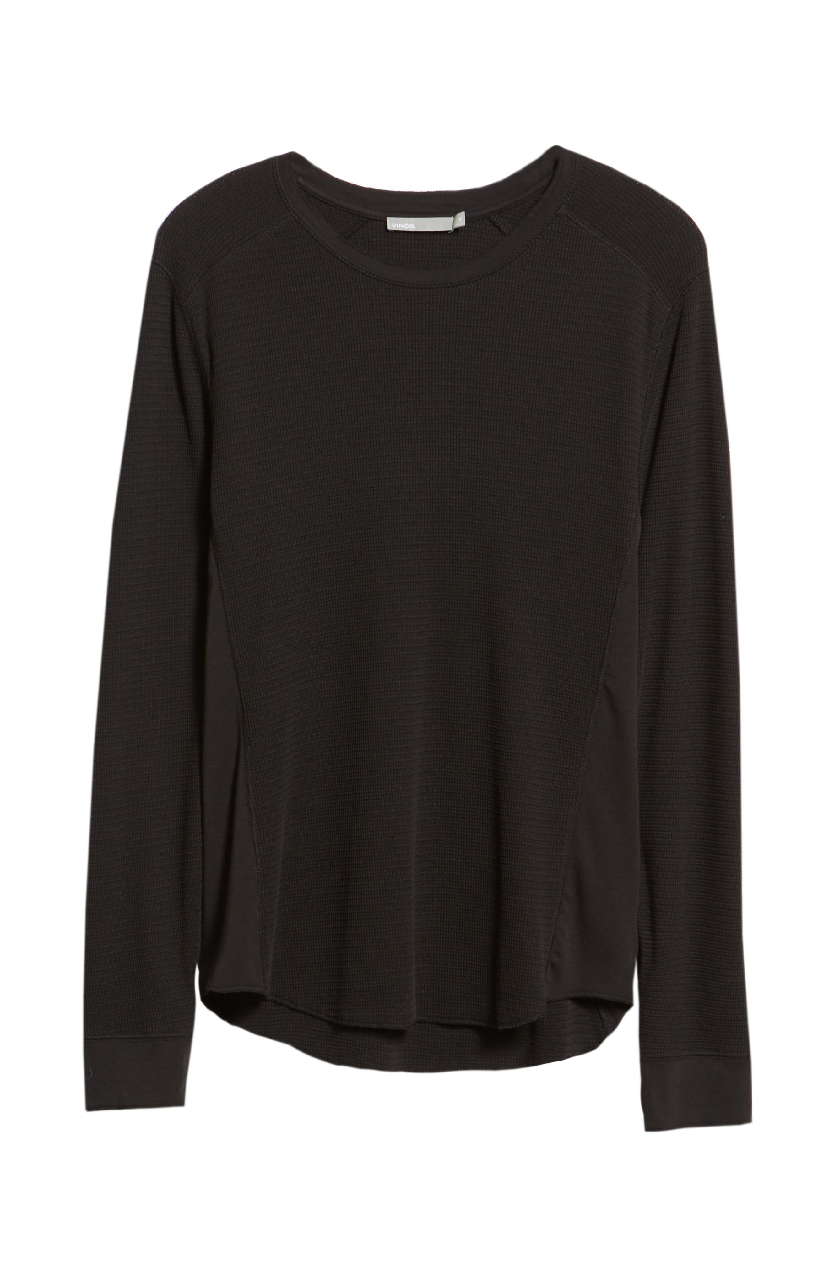 Regular Fit Waffle Knit T-Shirt,                             Alternate thumbnail 6, color,                             BLACK