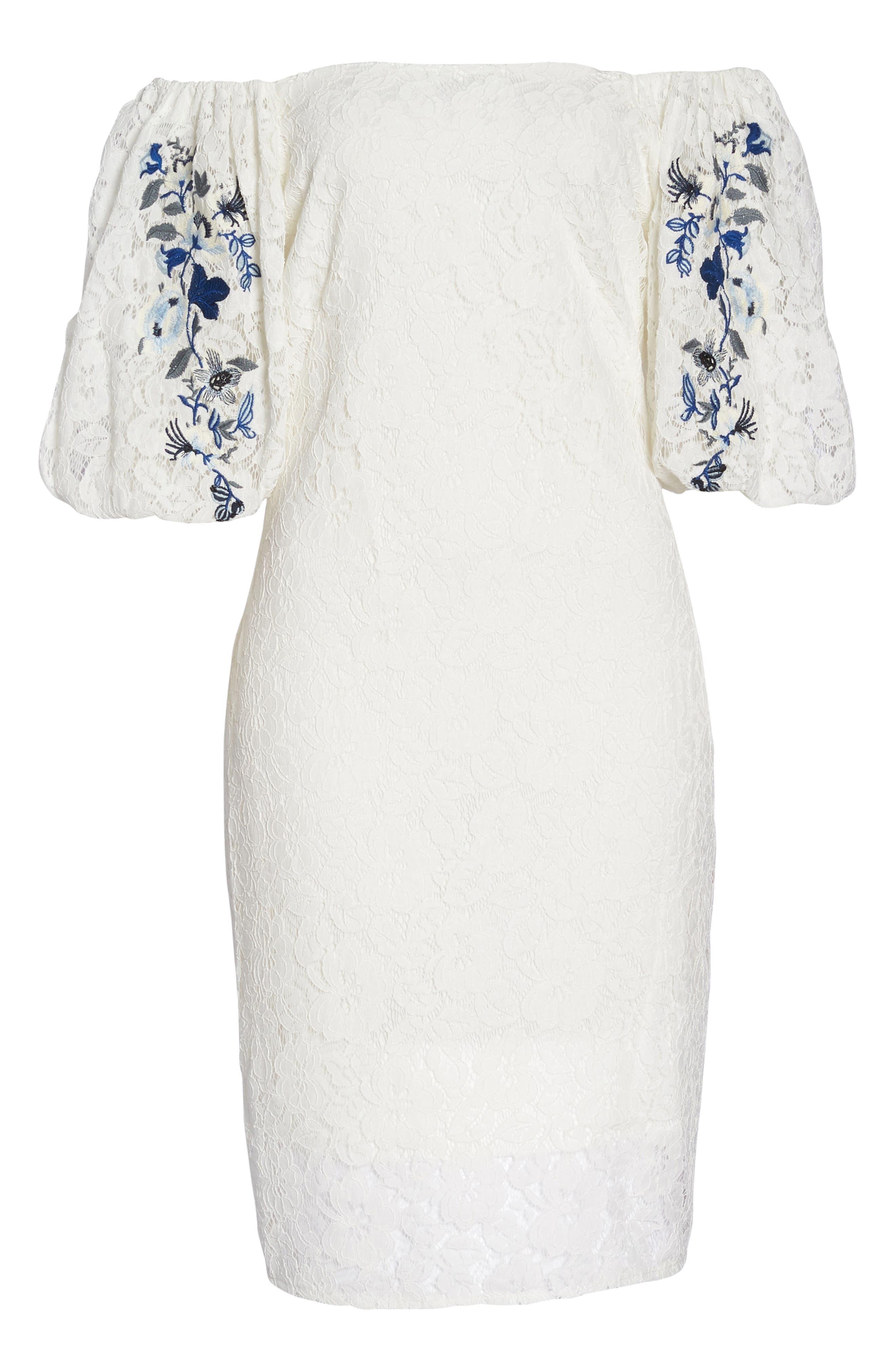 Lace Sheath Dress,                             Alternate thumbnail 7, color,                             120