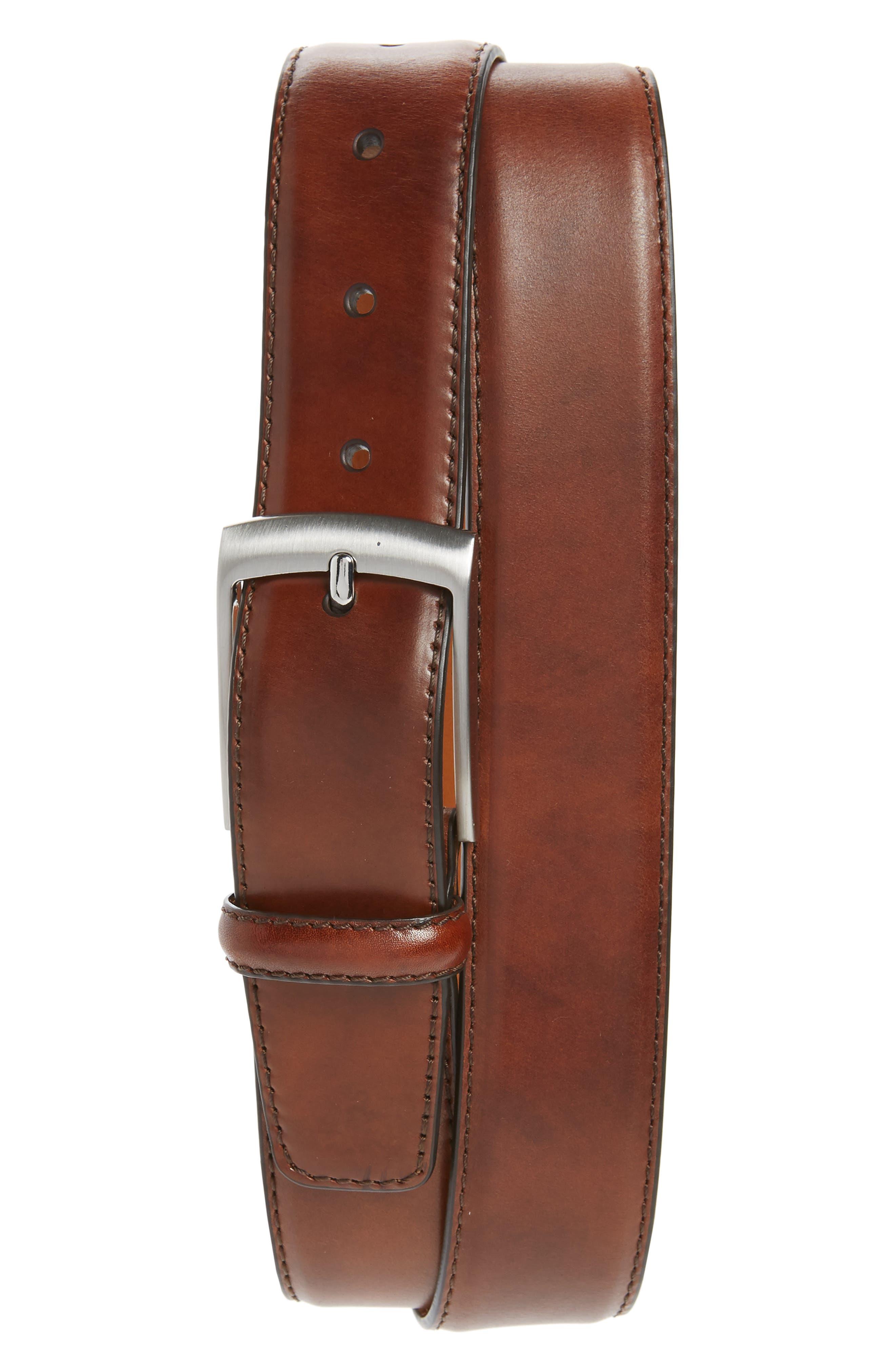 Magnanni Rafael Leather Belt, Tabaco
