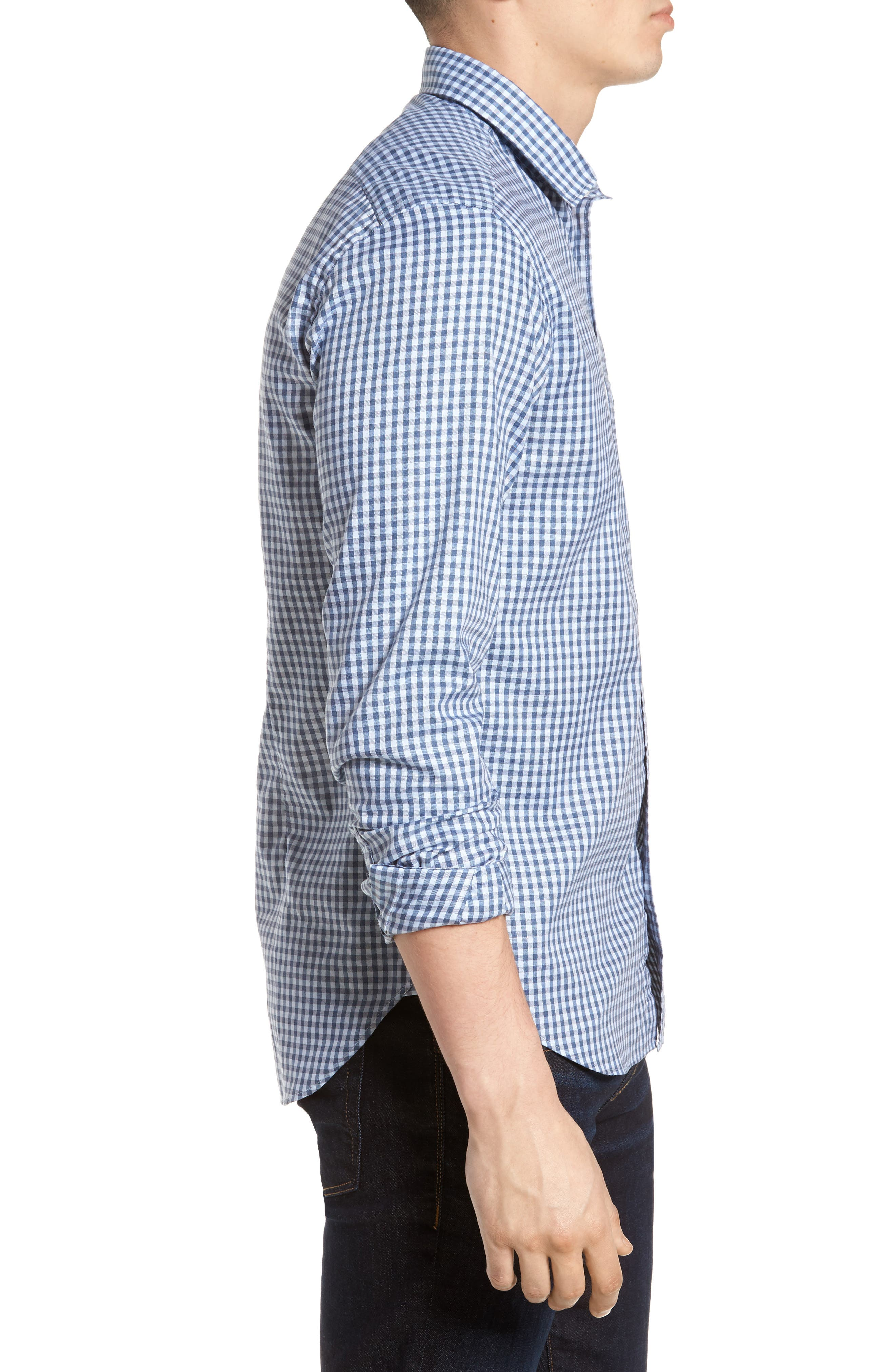 Tailored Fit Gingham Sport Shirt,                             Alternate thumbnail 3, color,                             400