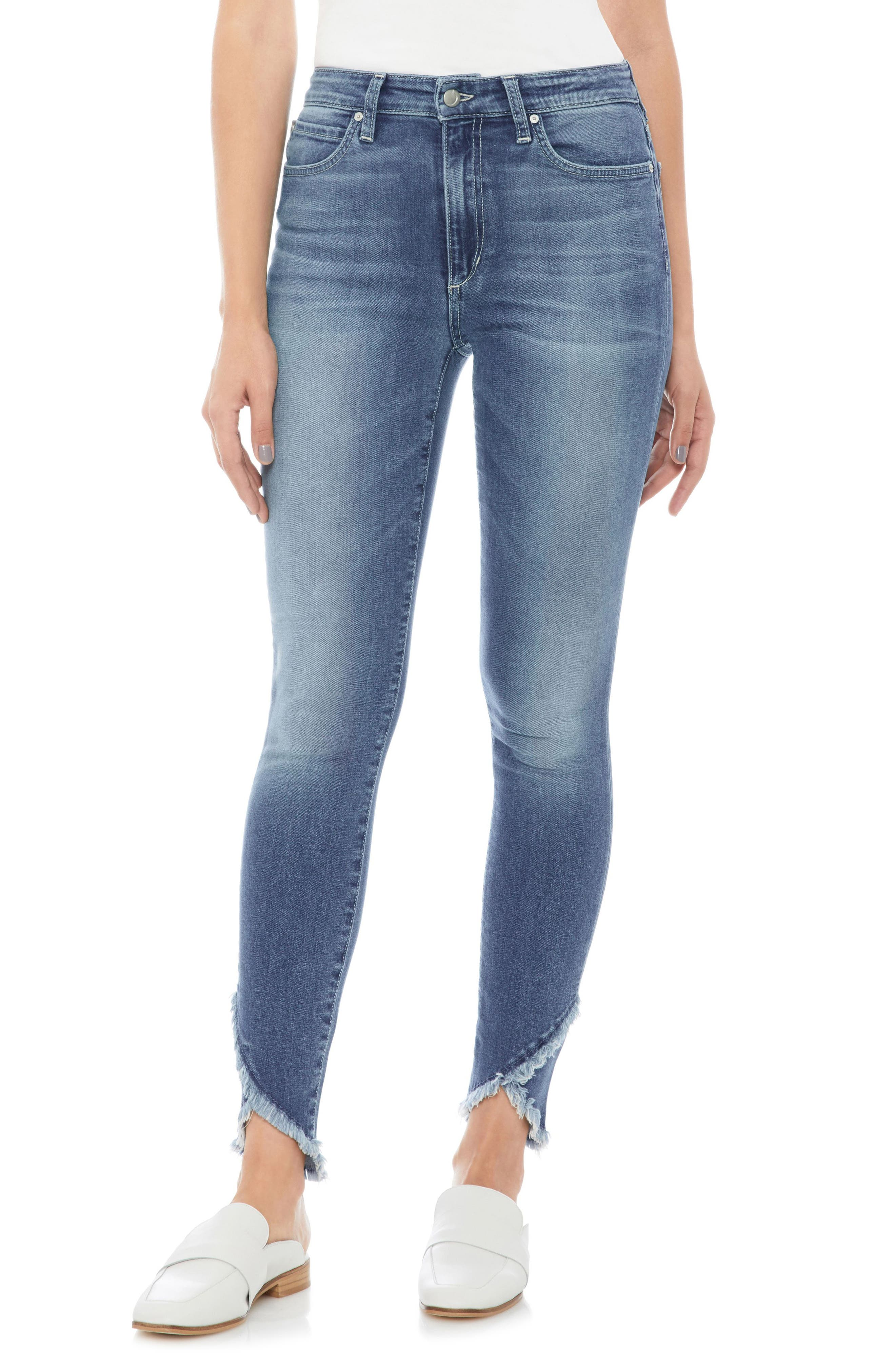 JOE'S Charlie High Waist Tulip Hem Ankle Skinny Jeans, Main, color, 420