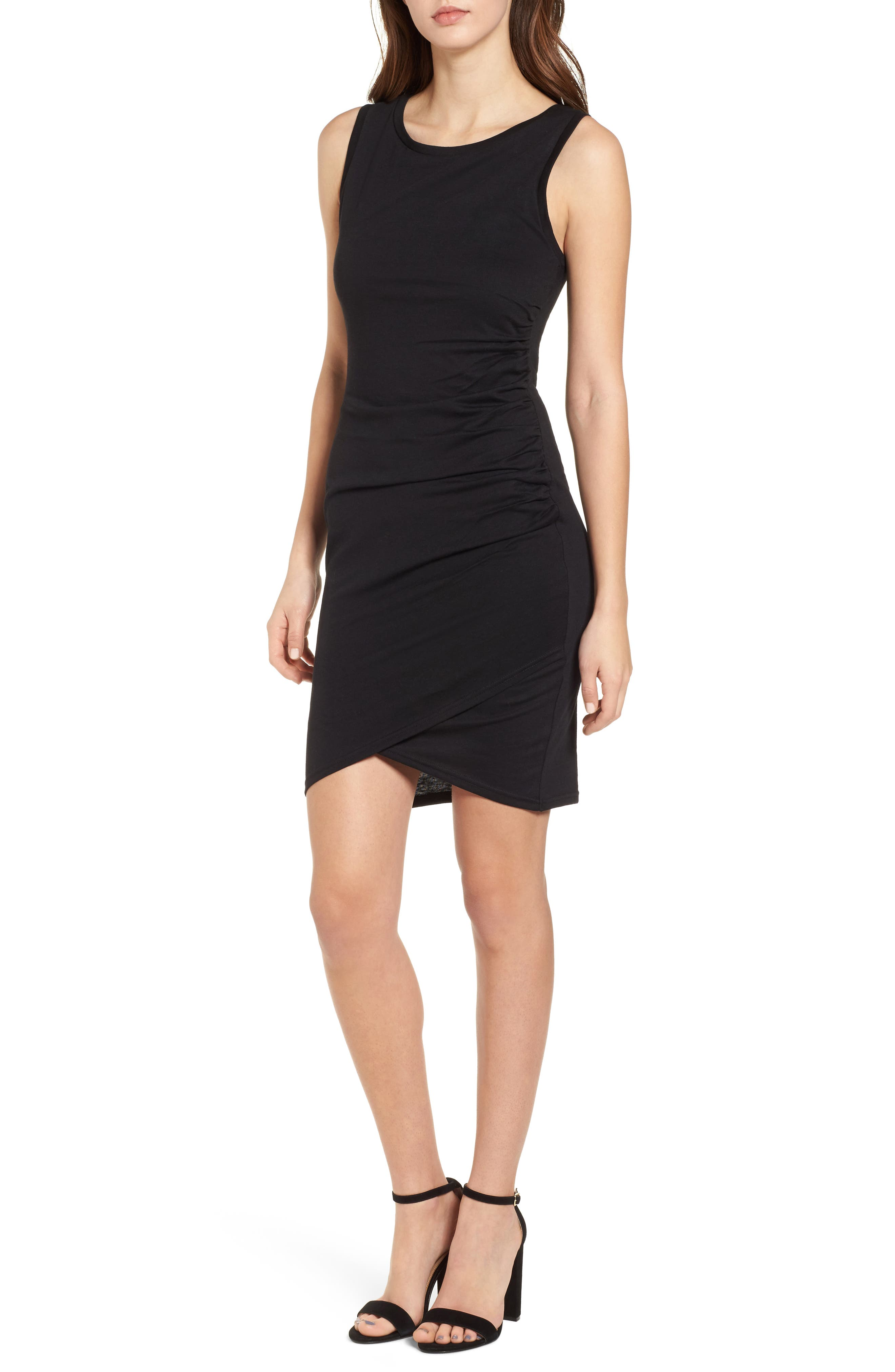 Ruched Body-Con Tank Dress,                             Main thumbnail 1, color,                             BLACK