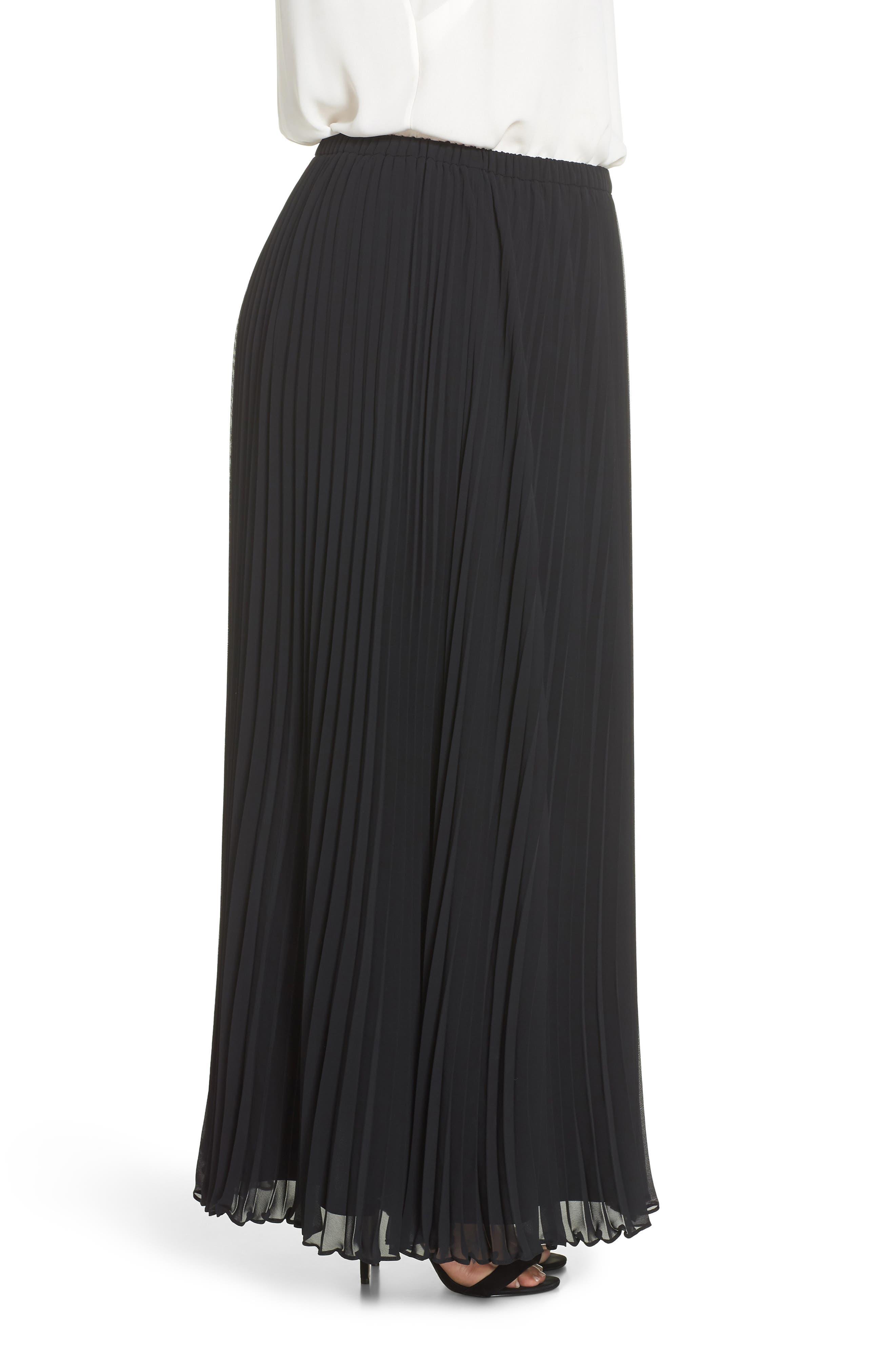 Long Pleated Chiffon Skirt,                             Alternate thumbnail 3, color,                             BLACK