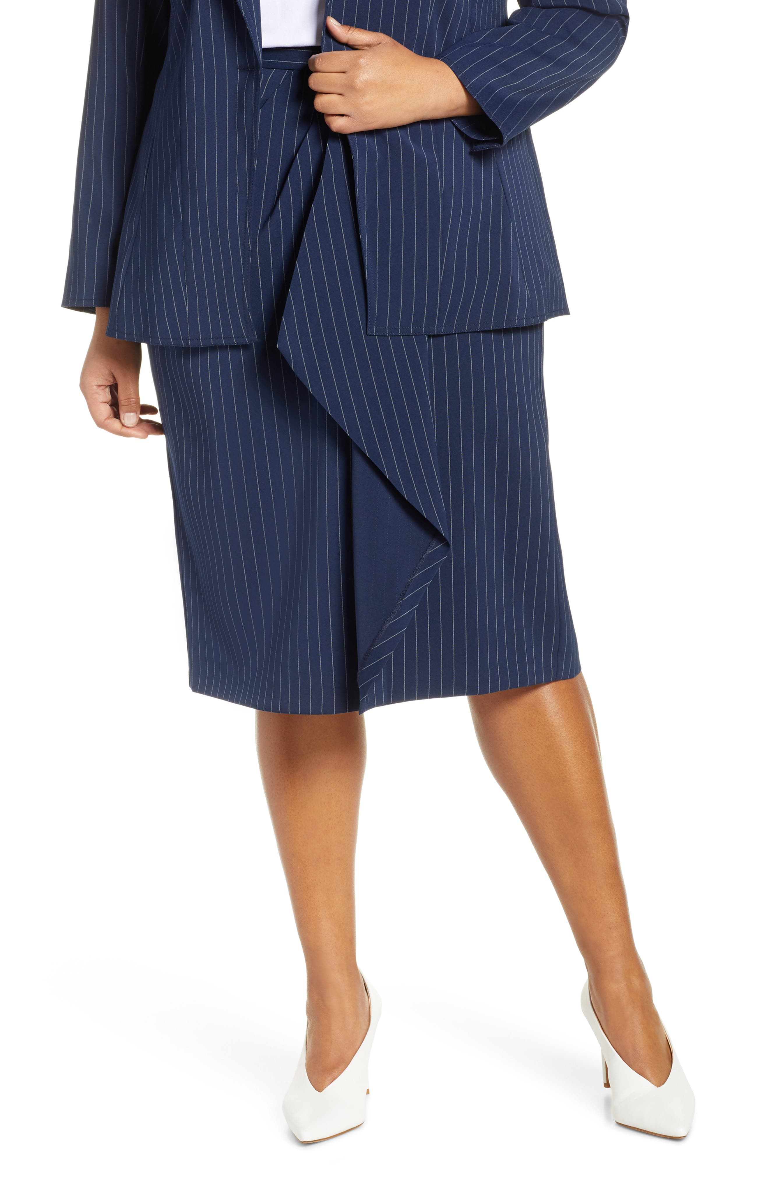 Plus Size Jason Wu X Eloquii Asymmetrical Drape Pencil Skirt, White