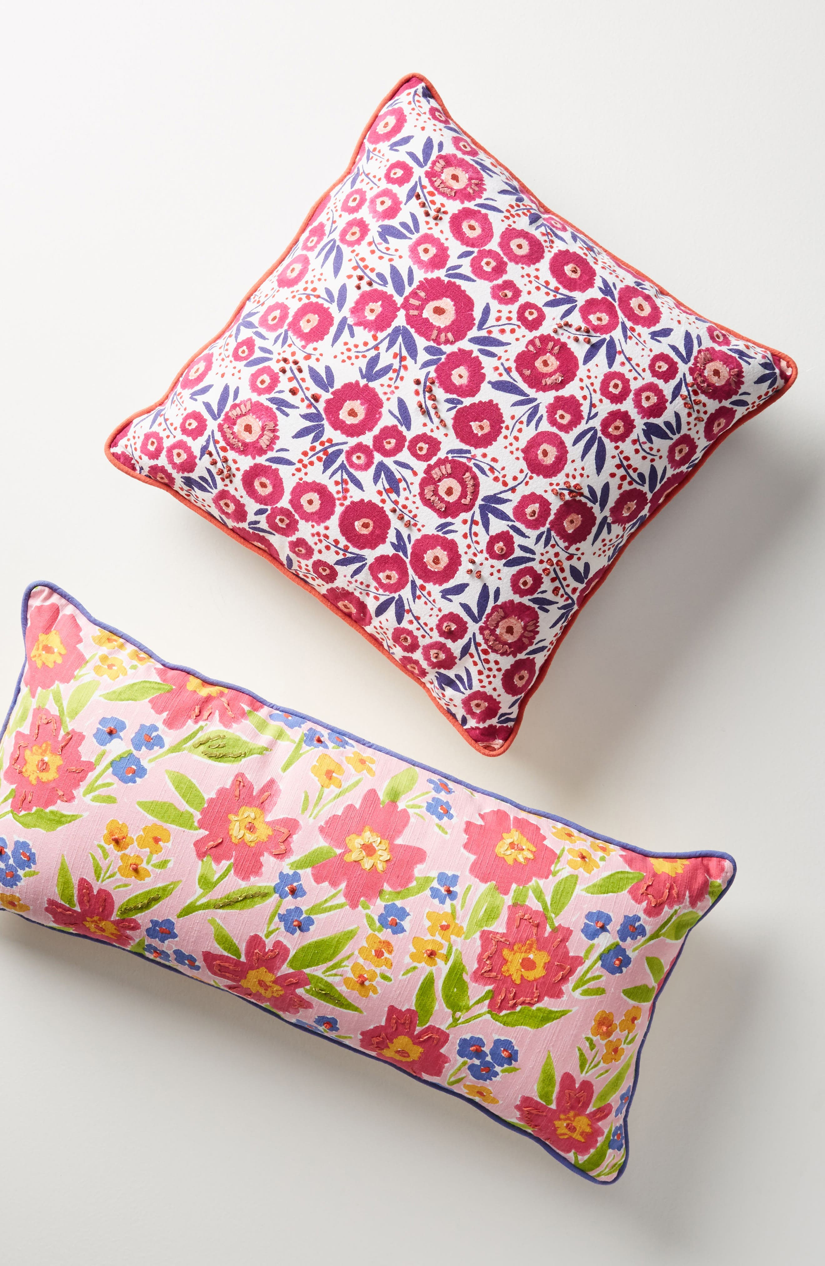 ANTHROPOLOGIE,                             Painted Poppies Accent Pillow,                             Alternate thumbnail 5, color,                             650
