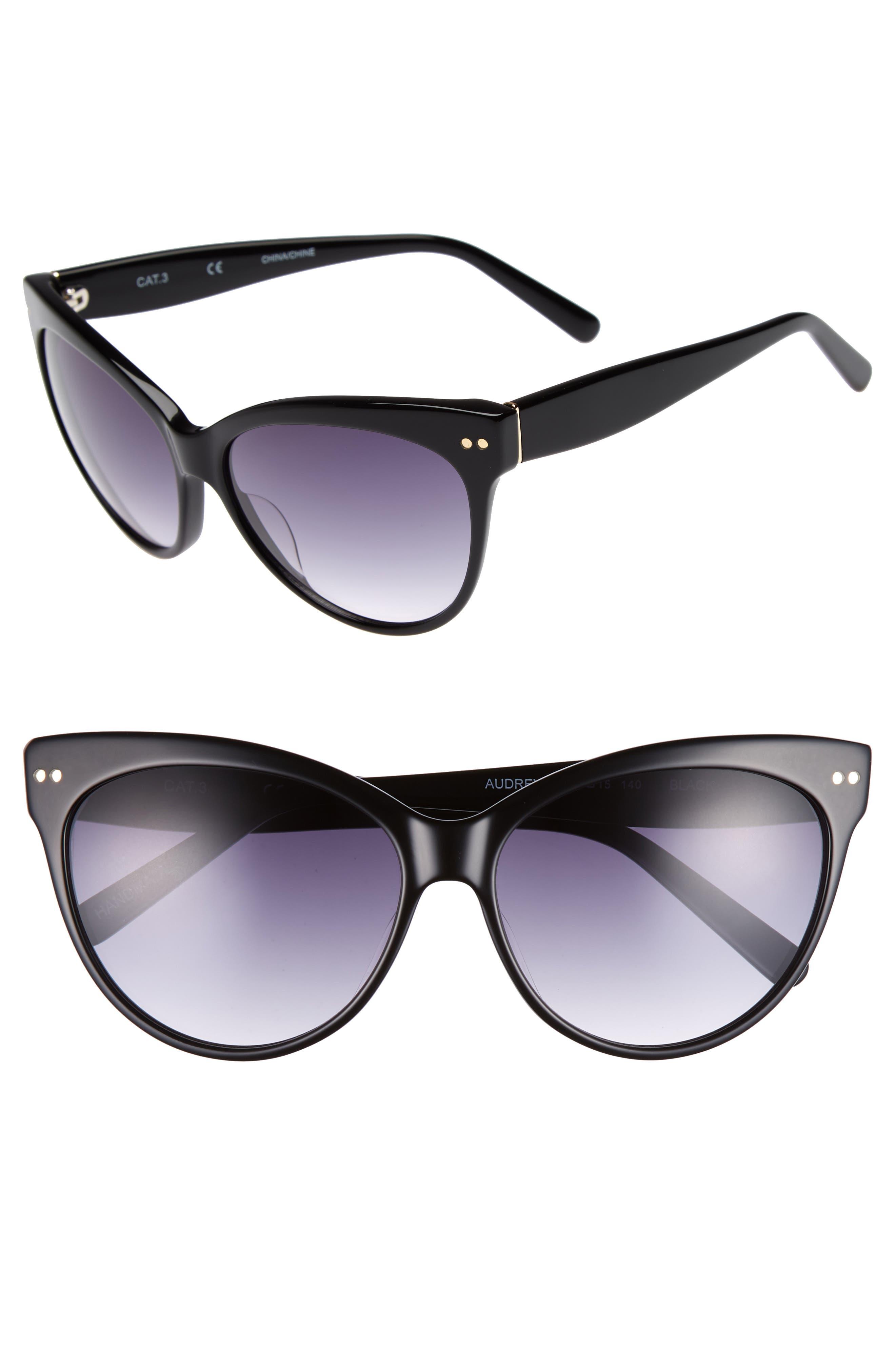 CHELSEA28,                             Audrey 60mm Cat Eye Sunglasses,                             Main thumbnail 1, color,                             001