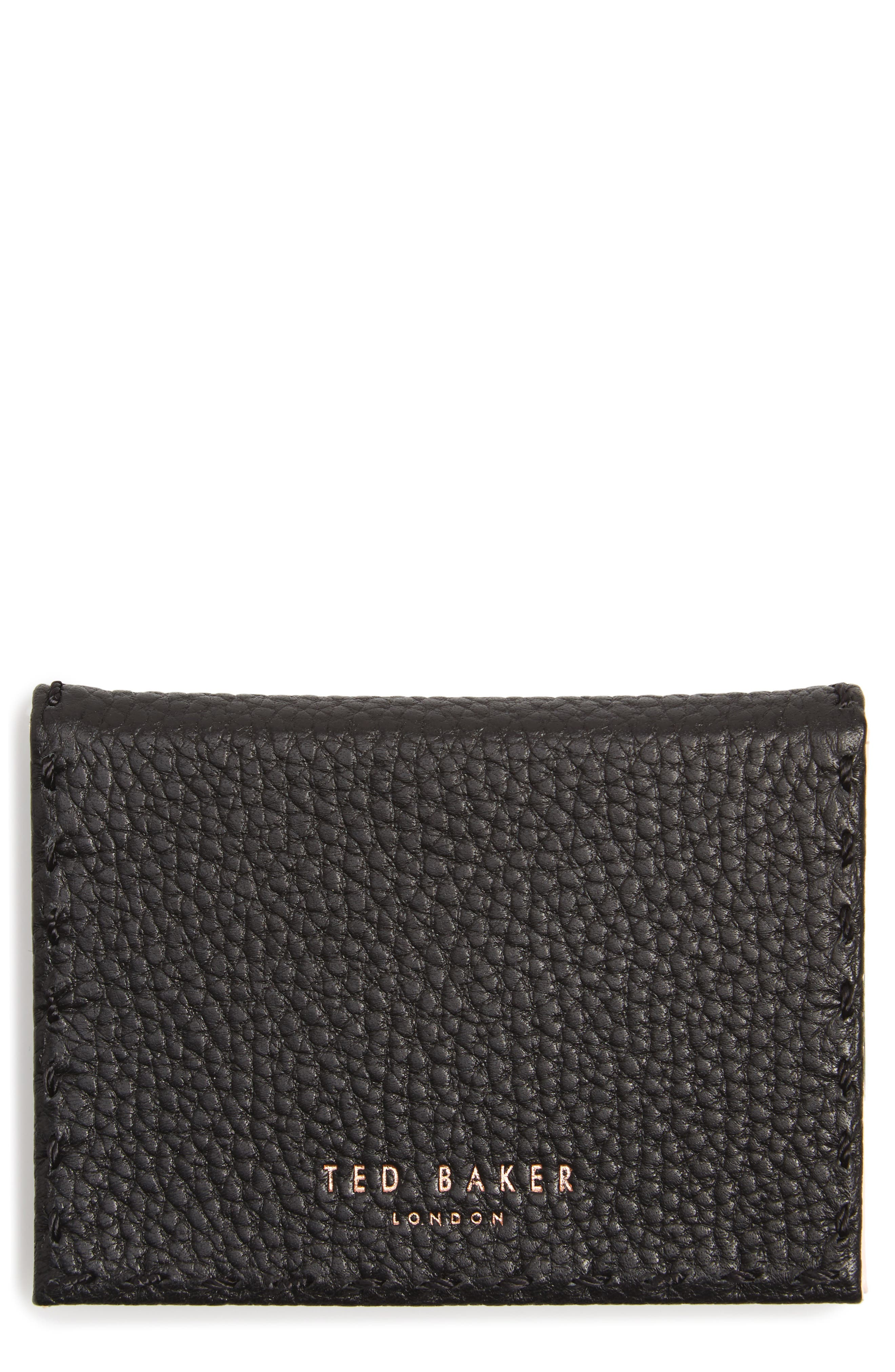 Hermina Leather Card Case,                             Main thumbnail 1, color,                             001