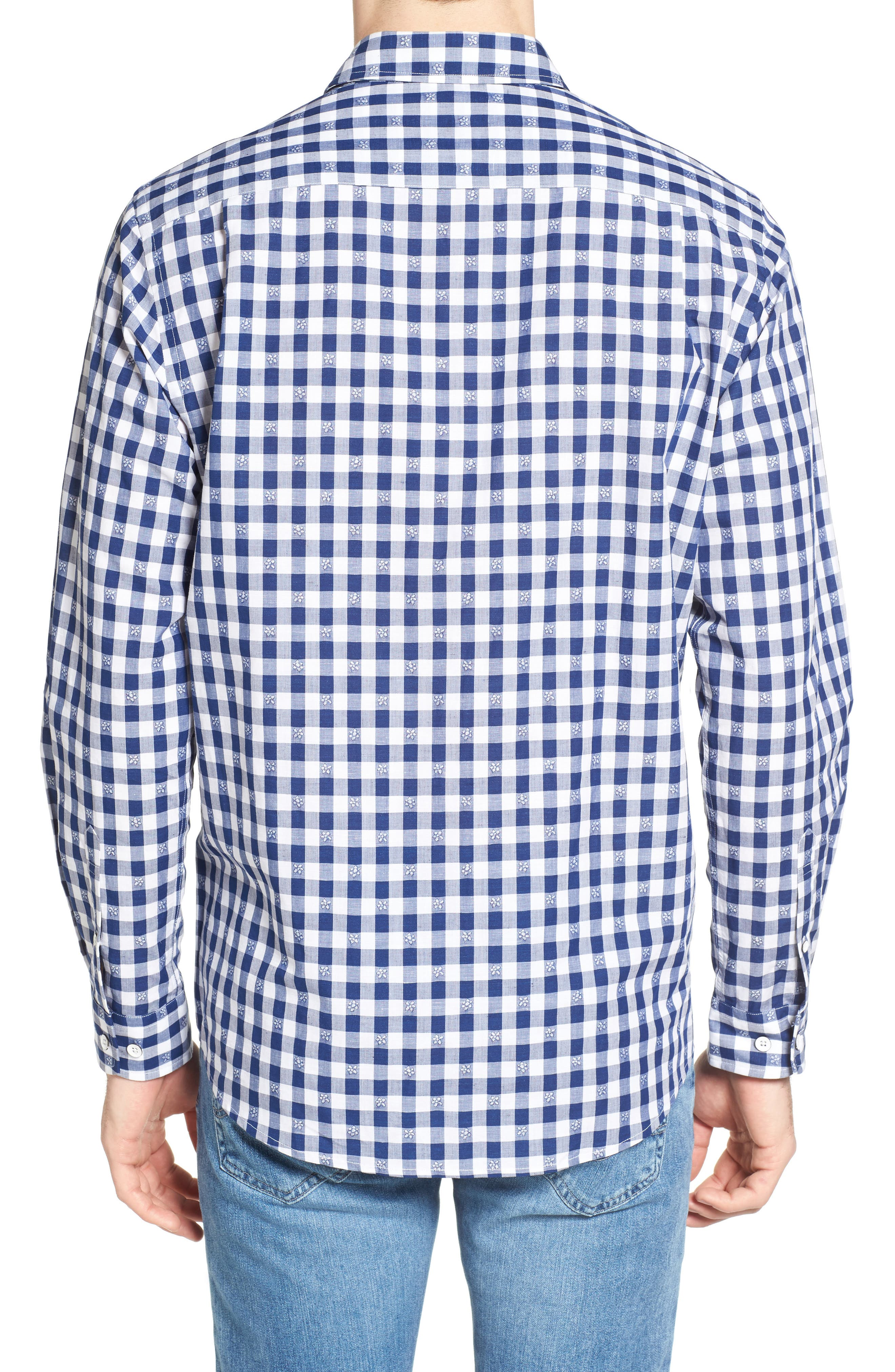 Wallace Floral Check Sport Shirt,                             Alternate thumbnail 2, color,                             423