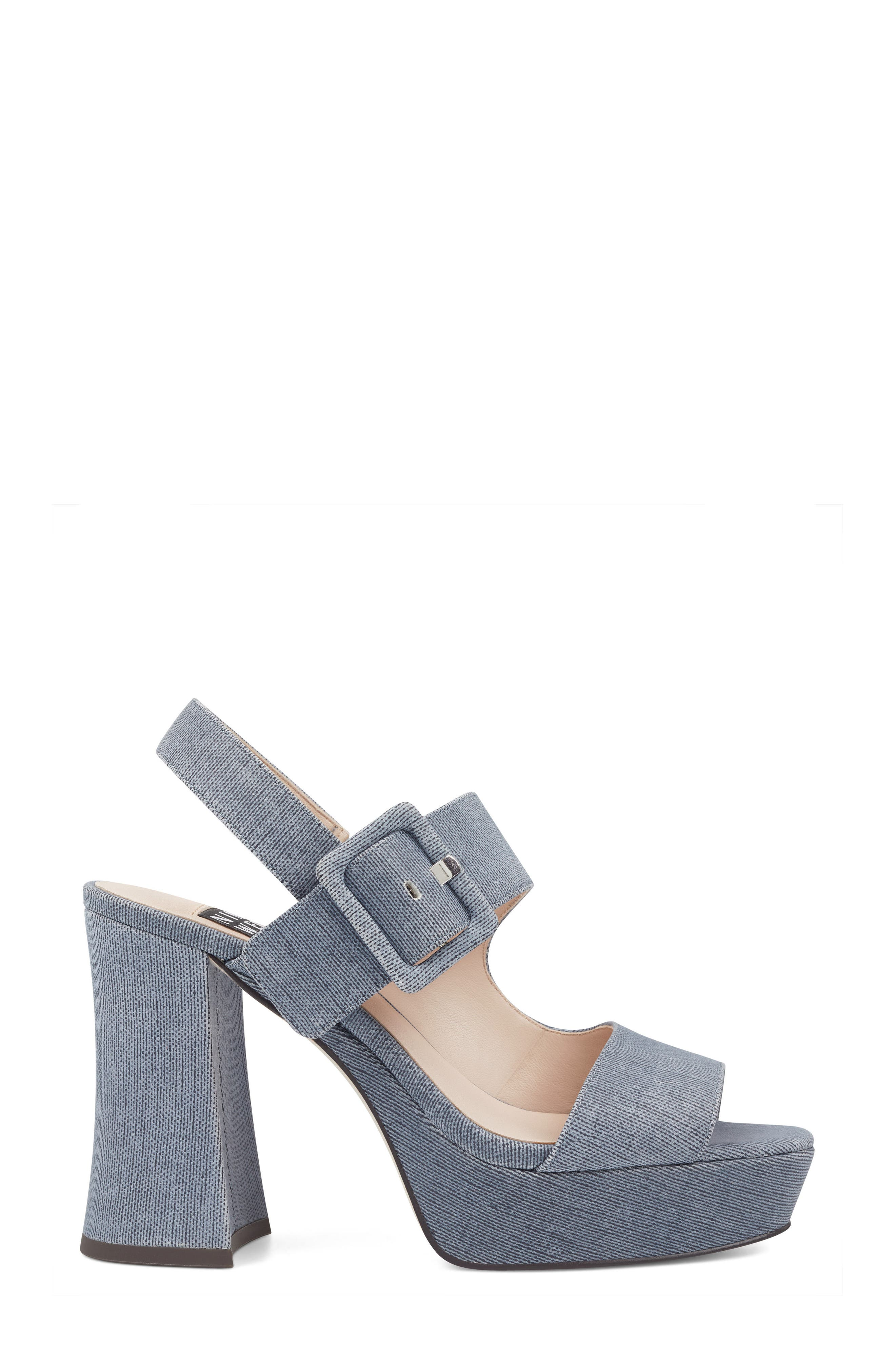 Lexine - 40th Anniversary Capsule Collection Platform Sandal,                             Alternate thumbnail 3, color,                             DARK BLUE FABRIC