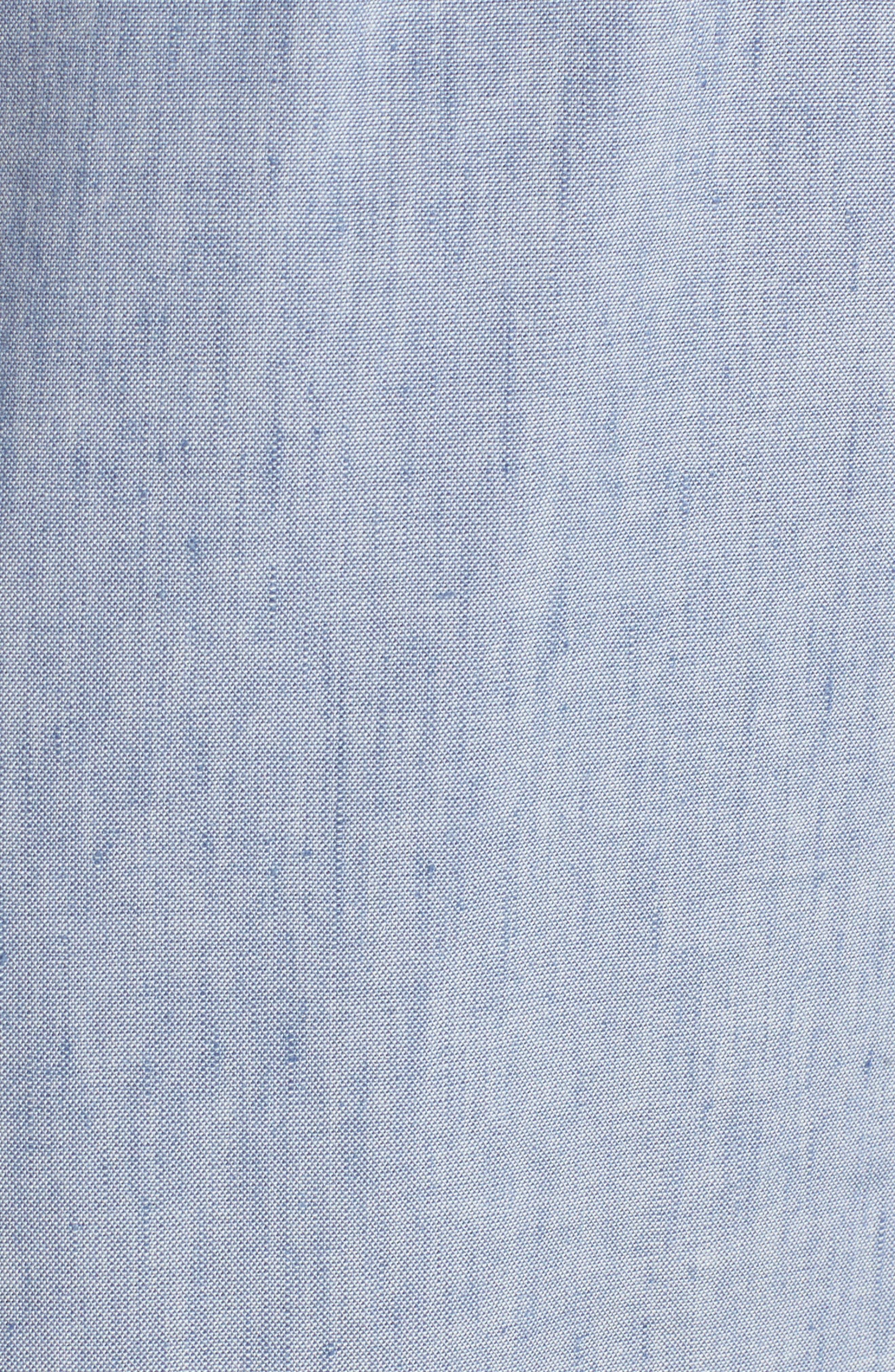 Tie Front Chambray Linen Blend Dress,                             Alternate thumbnail 6, color,                             400