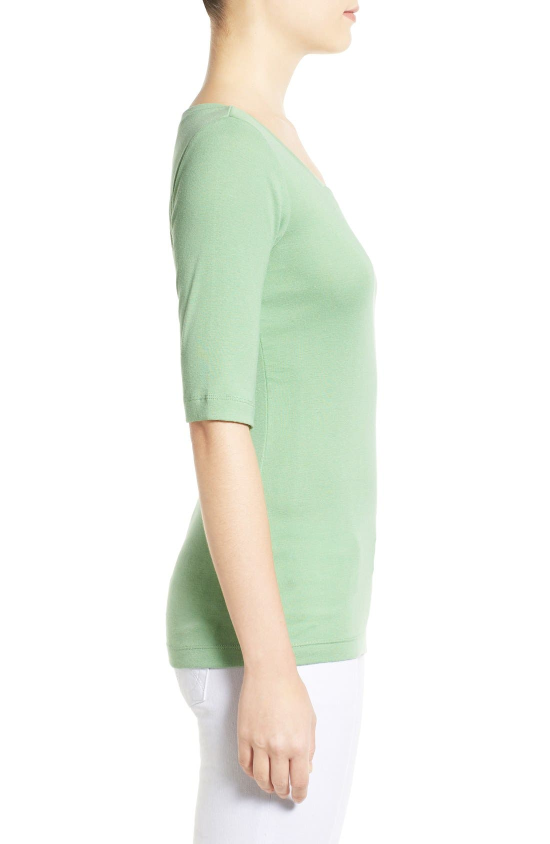 Ballet Neck Cotton & Modal Knit Elbow Sleeve Tee,                             Alternate thumbnail 182, color,