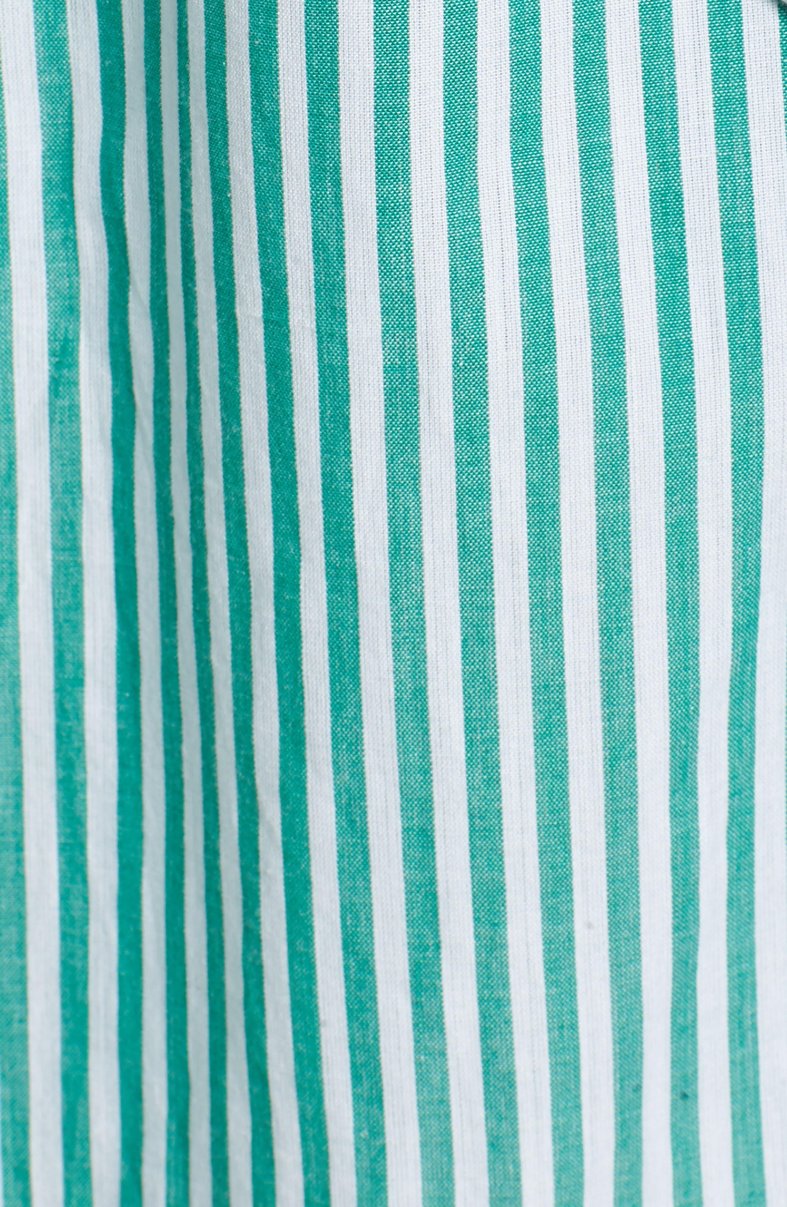 Stripe Cotton Wrap Dress,                             Alternate thumbnail 5, color,                             389