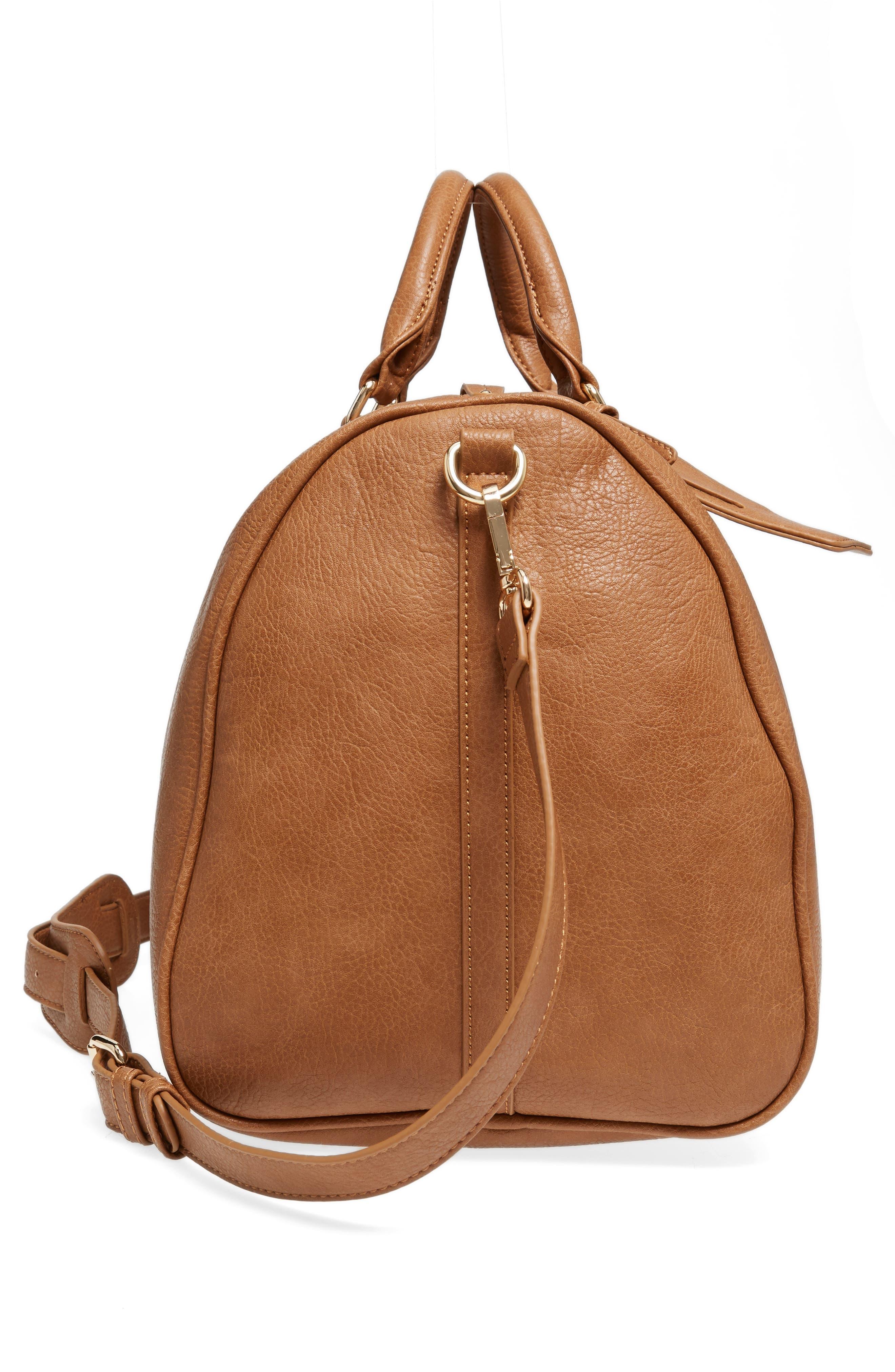 'Cassidy' Faux Leather Duffel Bag,                             Alternate thumbnail 5, color,                             COGNAC