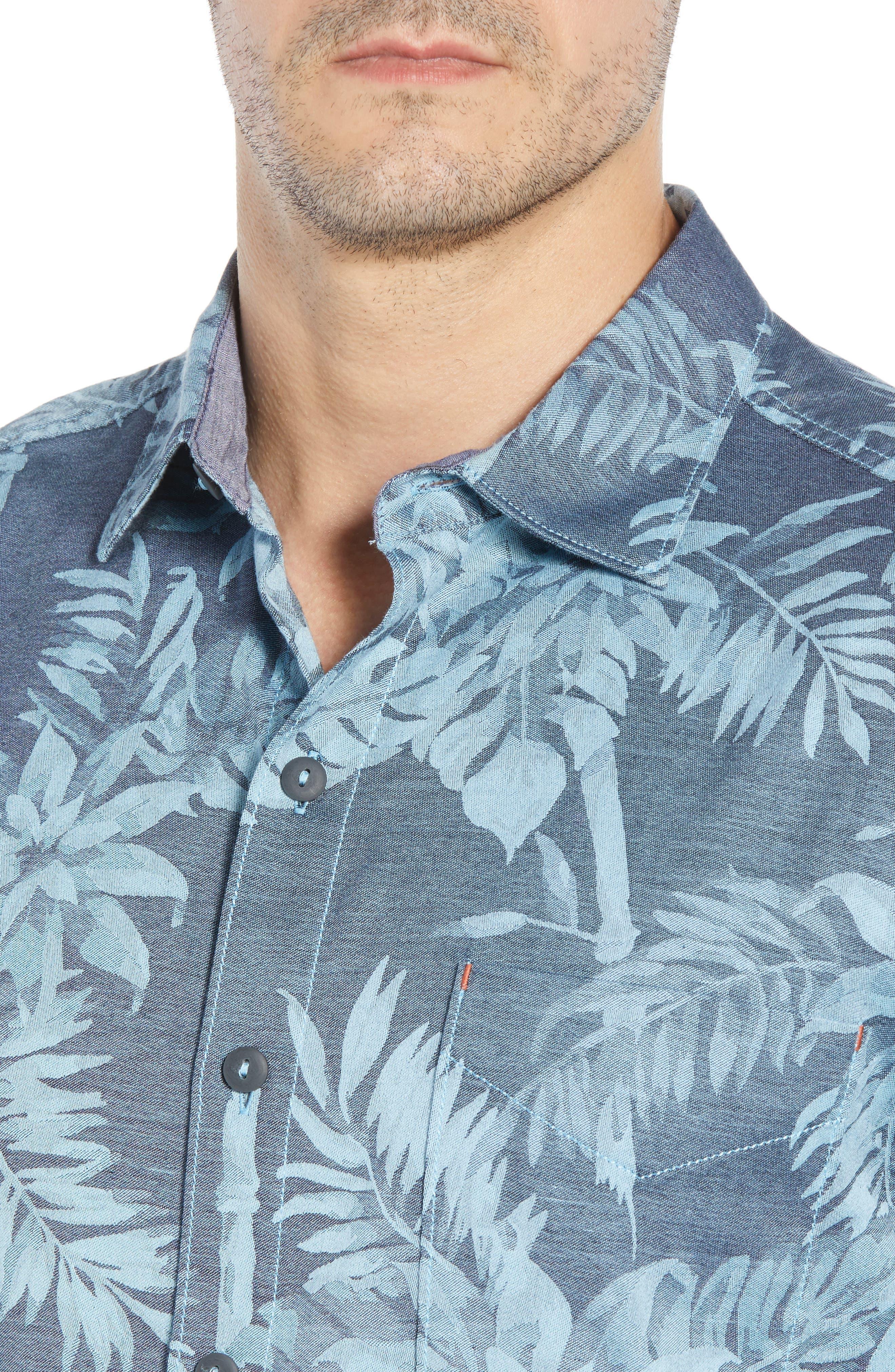 Tropical Tones Regular Fit Sport Shirt,                             Alternate thumbnail 2, color,                             OCEAN DEEP