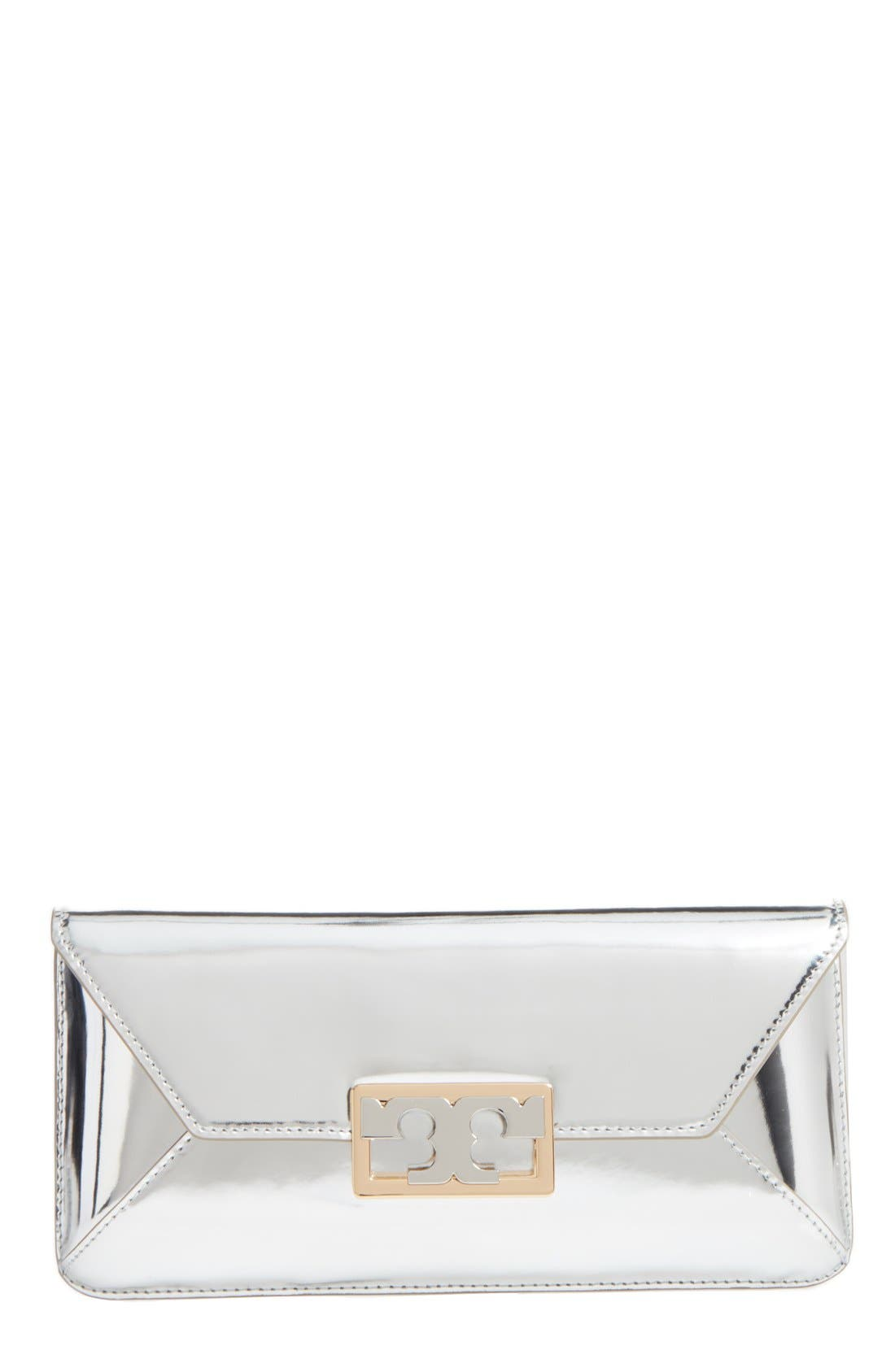 Gigi Metallic Leather Clutch,                             Main thumbnail 1, color,                             SILVER LEATHER STANDARD