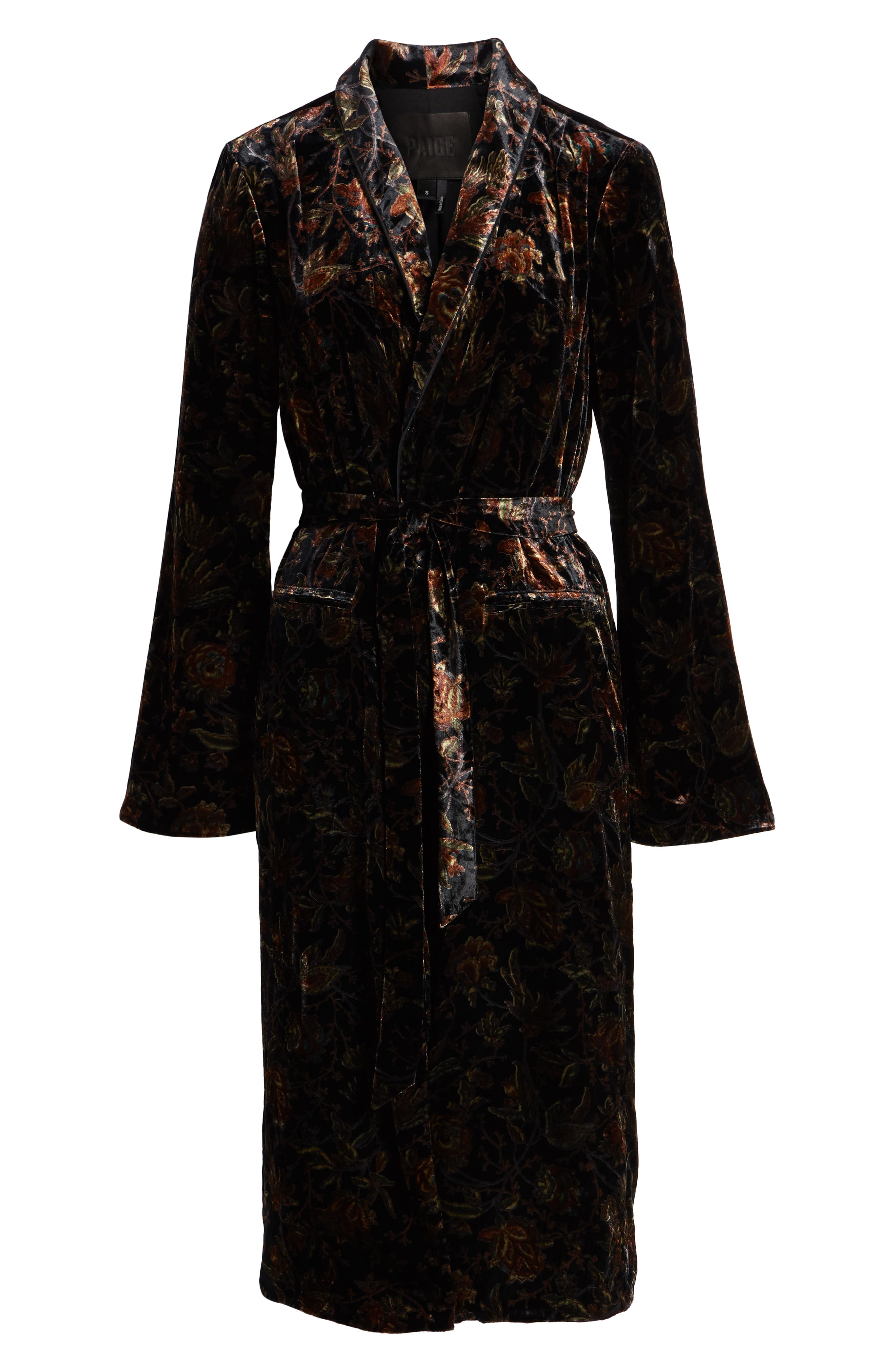 Chrystin Velvet Robe,                             Alternate thumbnail 6, color,                             BLACK / GOLDEN SKY