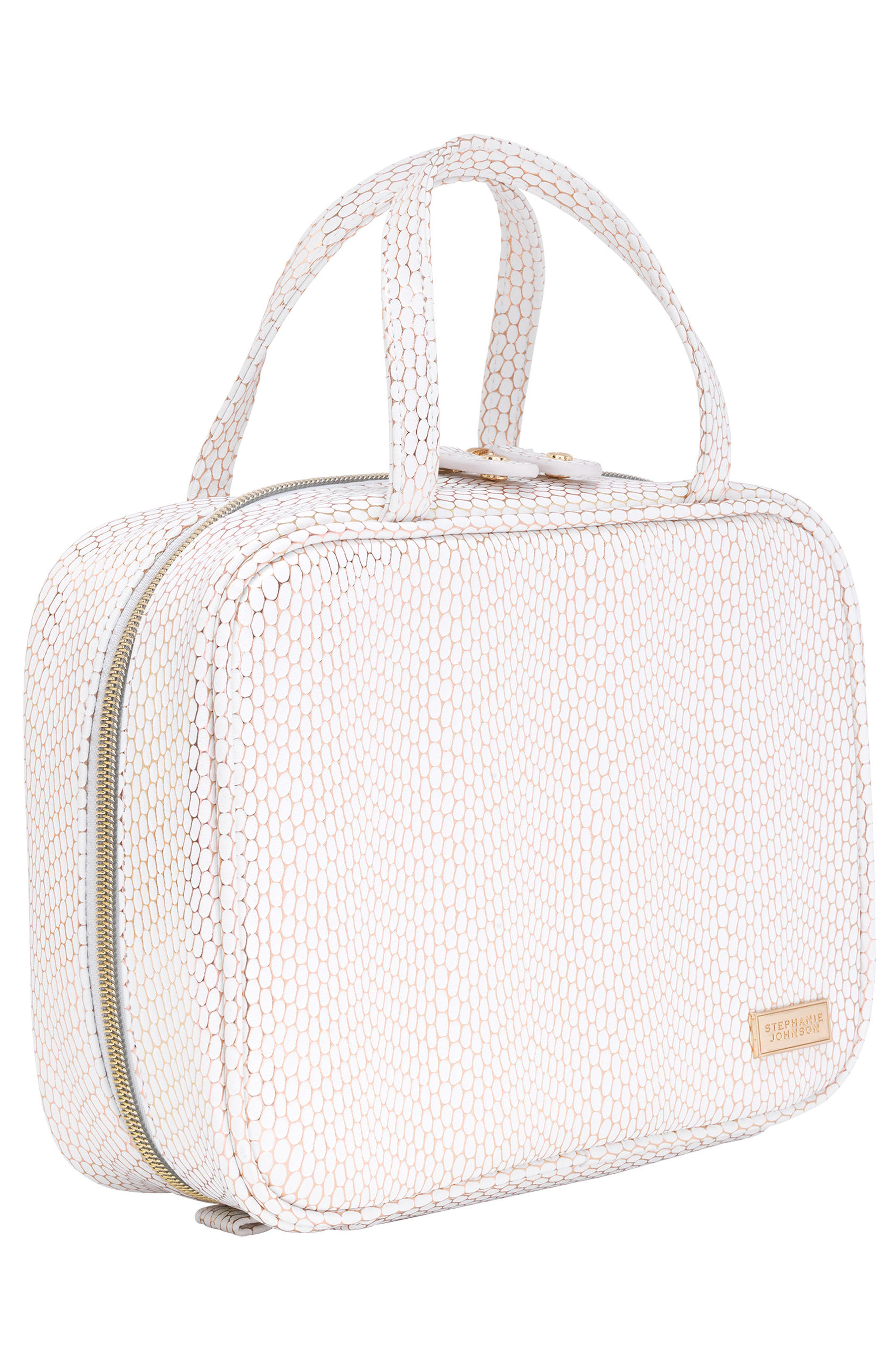 Havana Traveler Cosmetics Case,                             Alternate thumbnail 4, color,                             WHITE