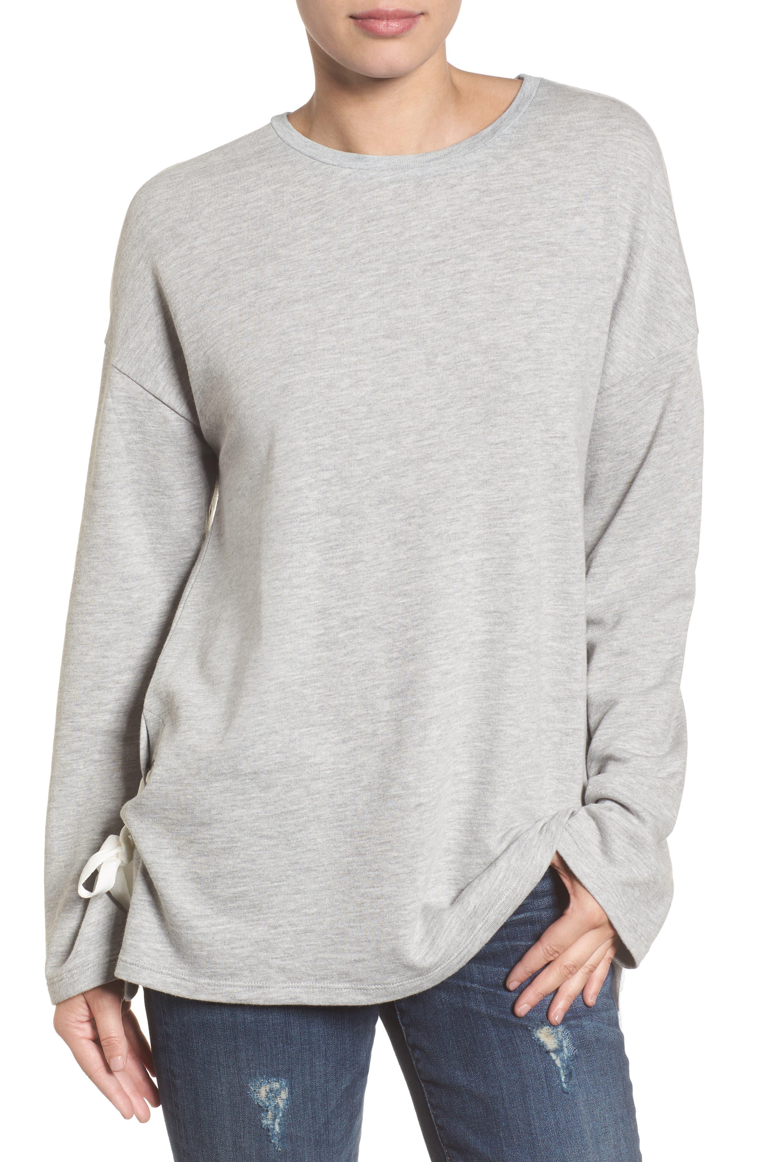 Lace-Up Side Sweatshirt,                             Main thumbnail 1, color,                             030