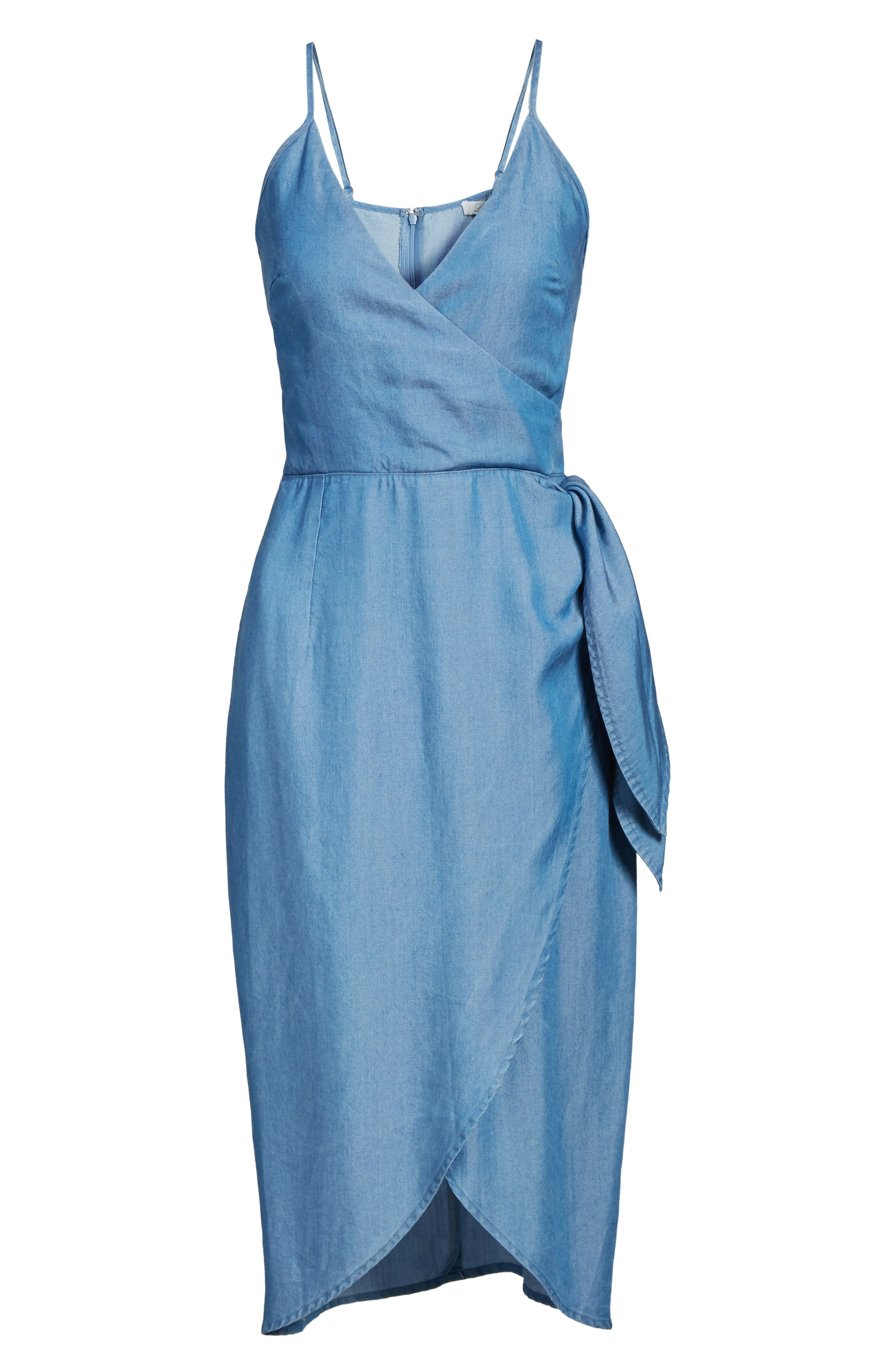 Orchid Chambray Wrap Dress,                             Alternate thumbnail 6, color,                             400