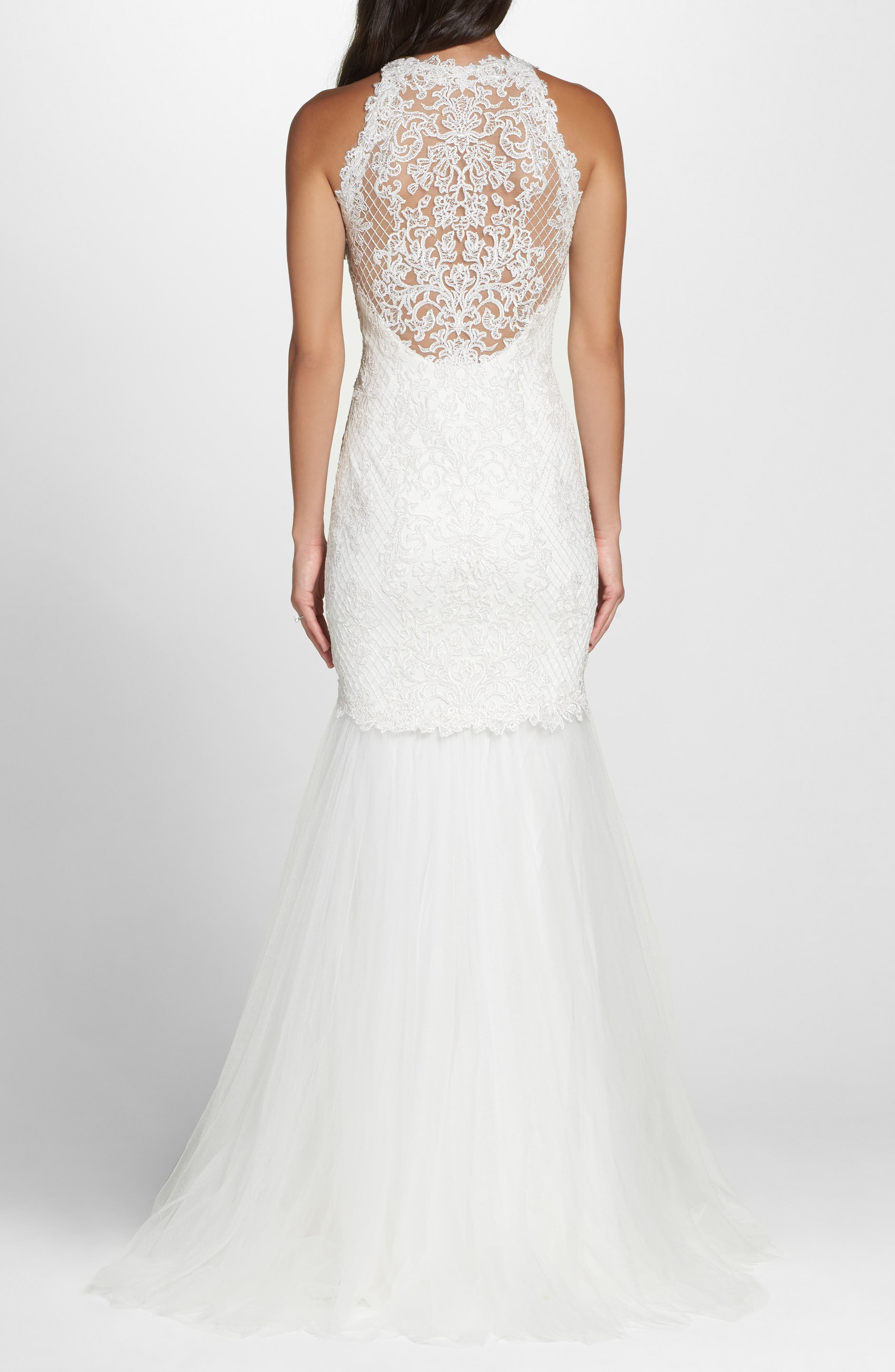 Lace Halter Mermaid Gown,                             Alternate thumbnail 2, color,                             IVORY