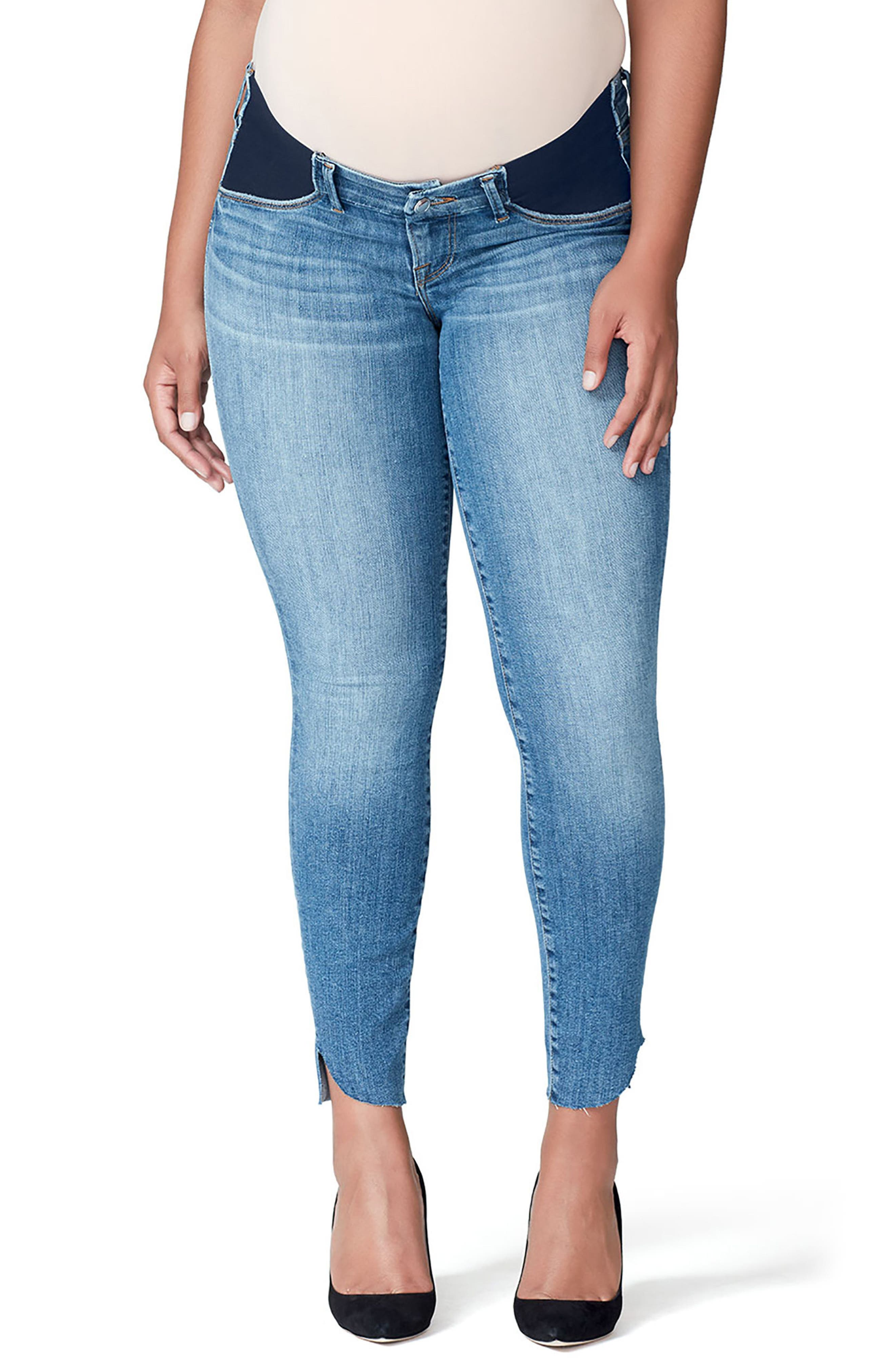 Good Mama The Honeymoon Low Rise Cascade Hem Maternity Skinny Jeans,                         Main,                         color, BLUE