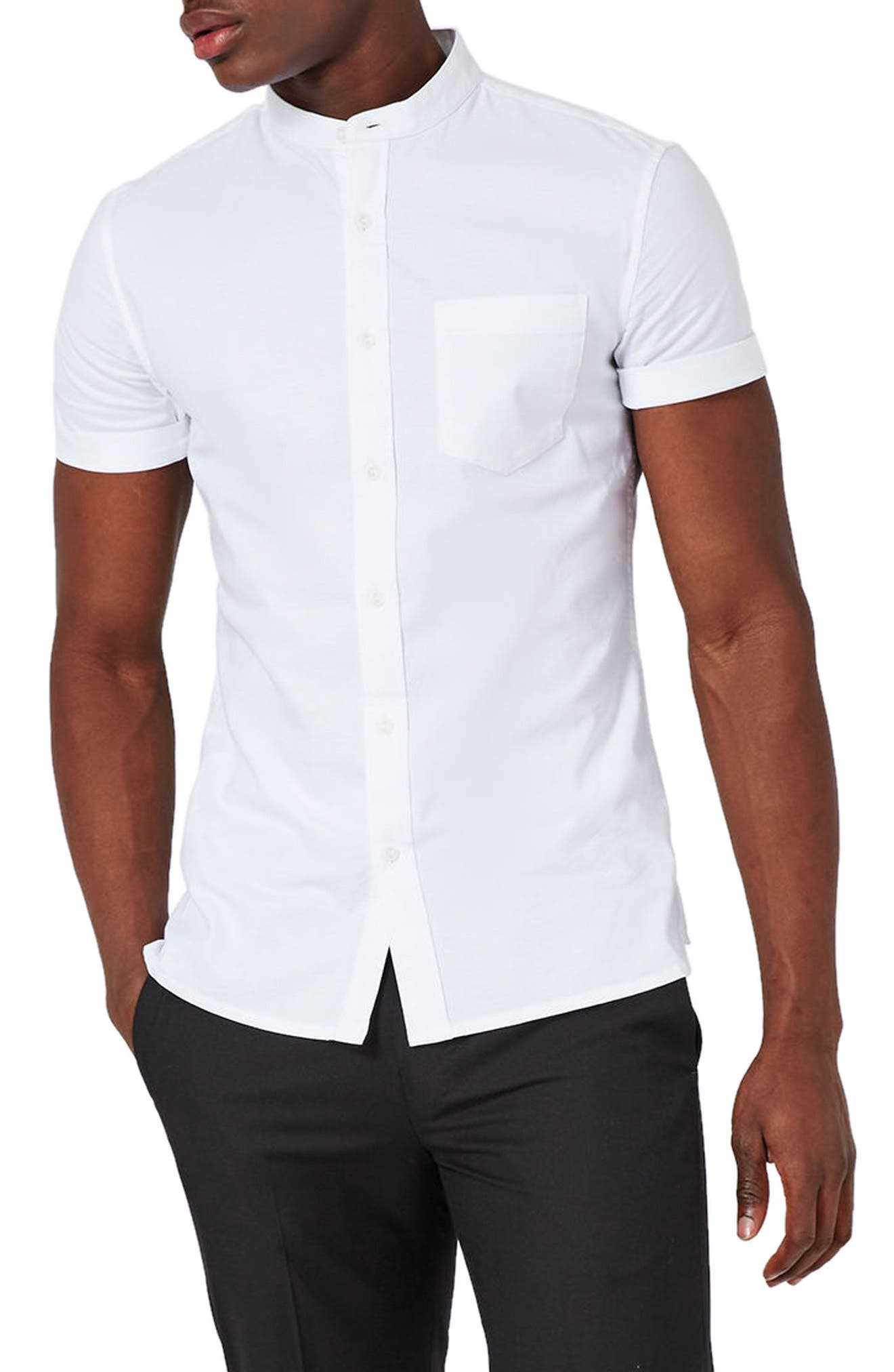 Stand Collar Oxford Shirt,                         Main,                         color, WHITE