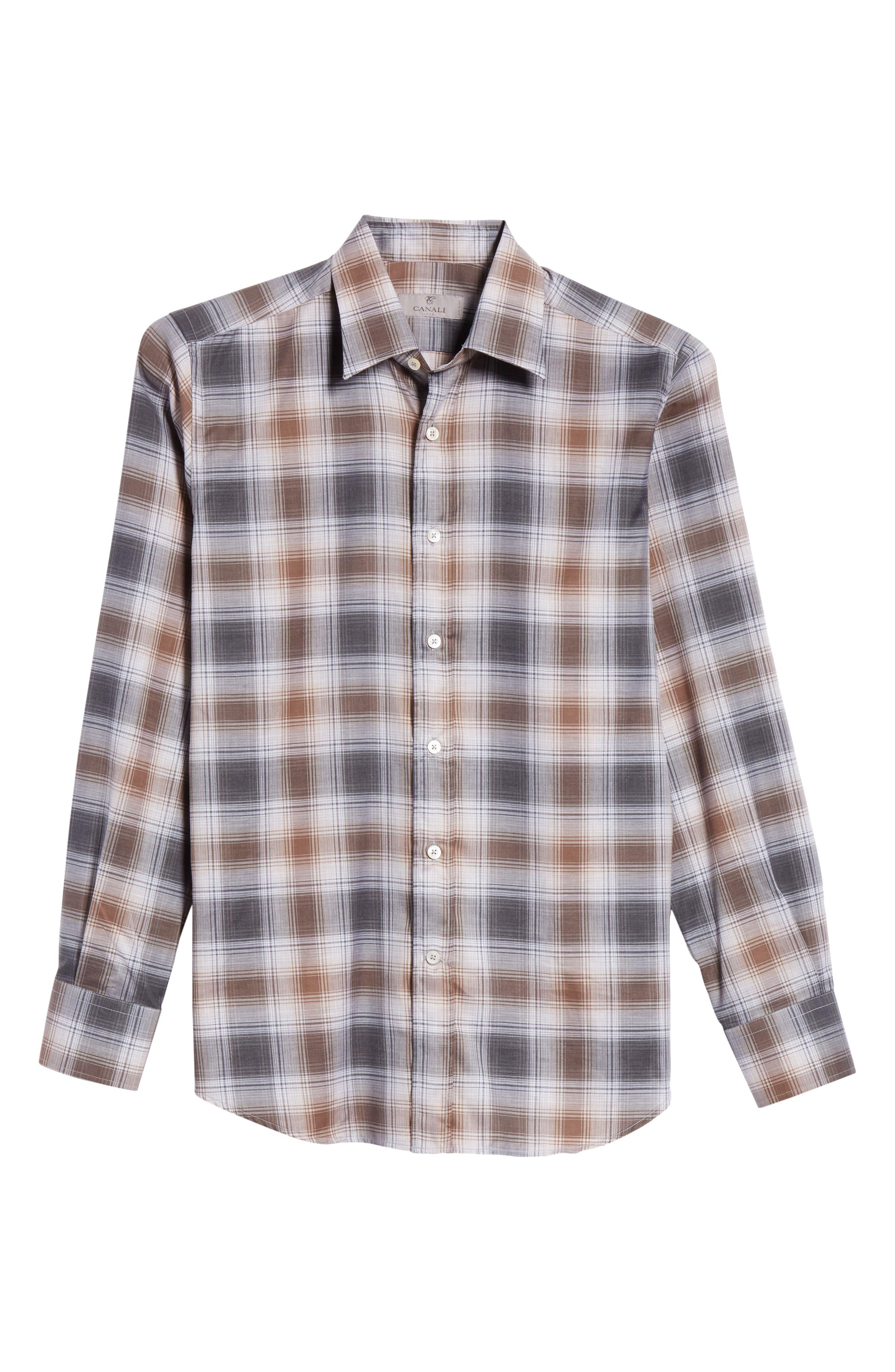 Regular Fit Plaid Dress Shirt,                             Alternate thumbnail 6, color,                             BROWN