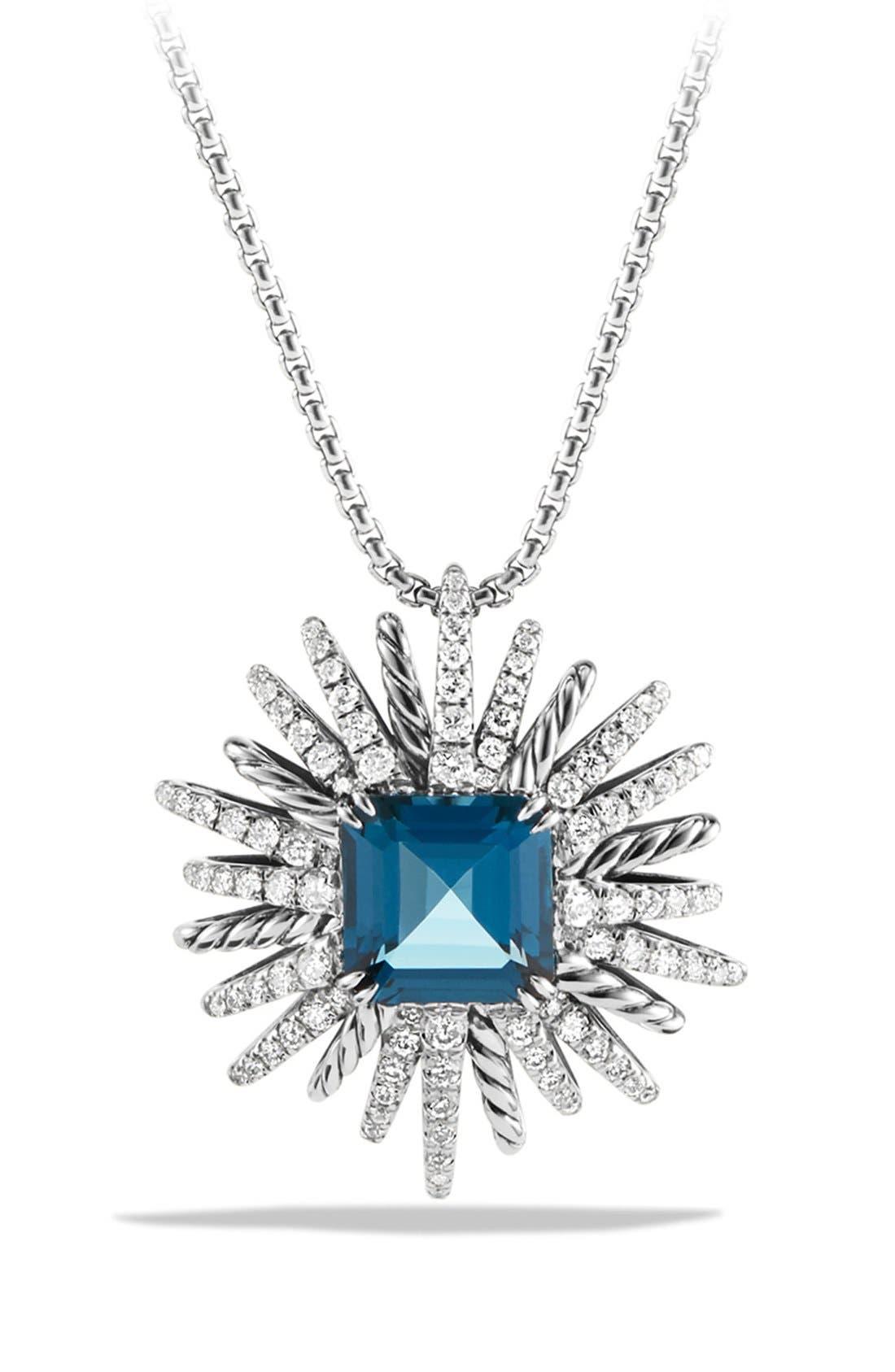 DAVID YURMAN 'Starburst' Necklace with Diamonds in Silver, Main, color, HAMPTON BLUE TOPAZ