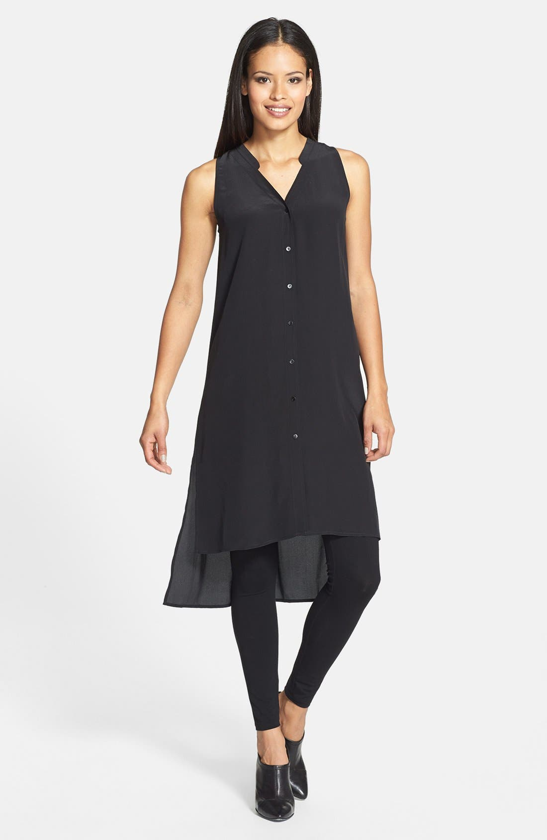 Silk Crepe V-Neck Tunic Dress, Main, color, 001