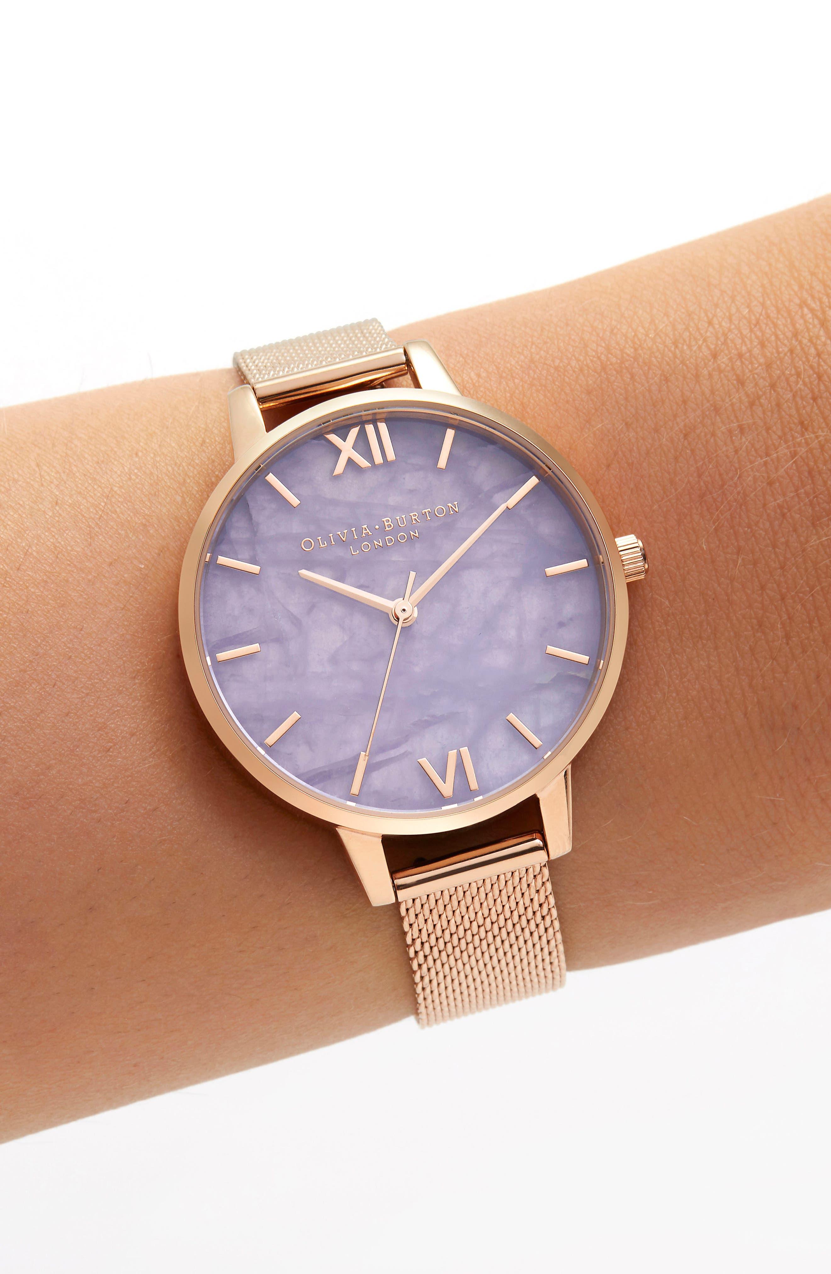 Bracelet Watch, 30mm,                             Alternate thumbnail 2, color,                             ROSE GOLD/ AMETHYST/ ROSE GOLD