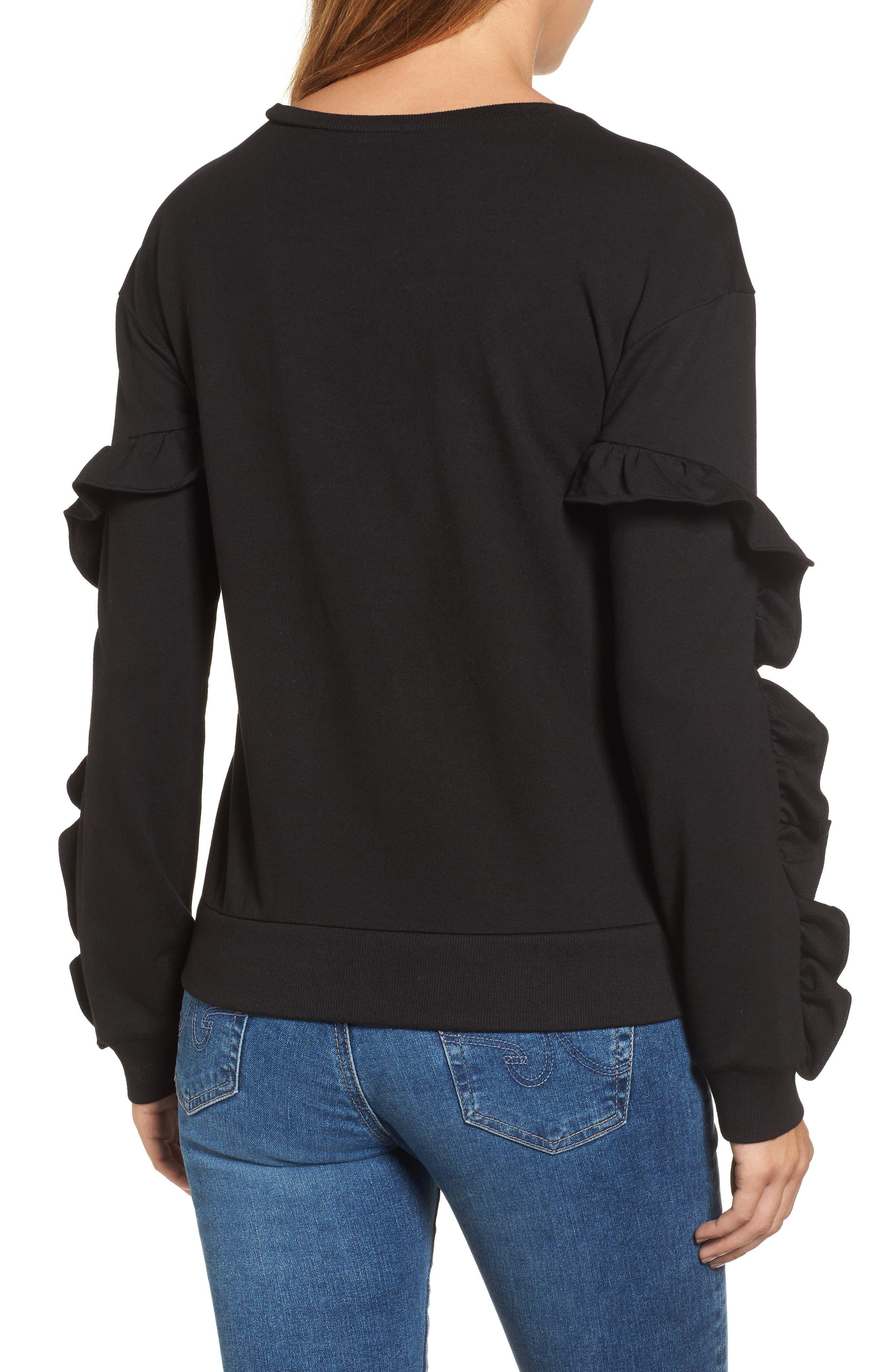 Ruffle Detail Sweatshirt,                             Alternate thumbnail 2, color,                             001