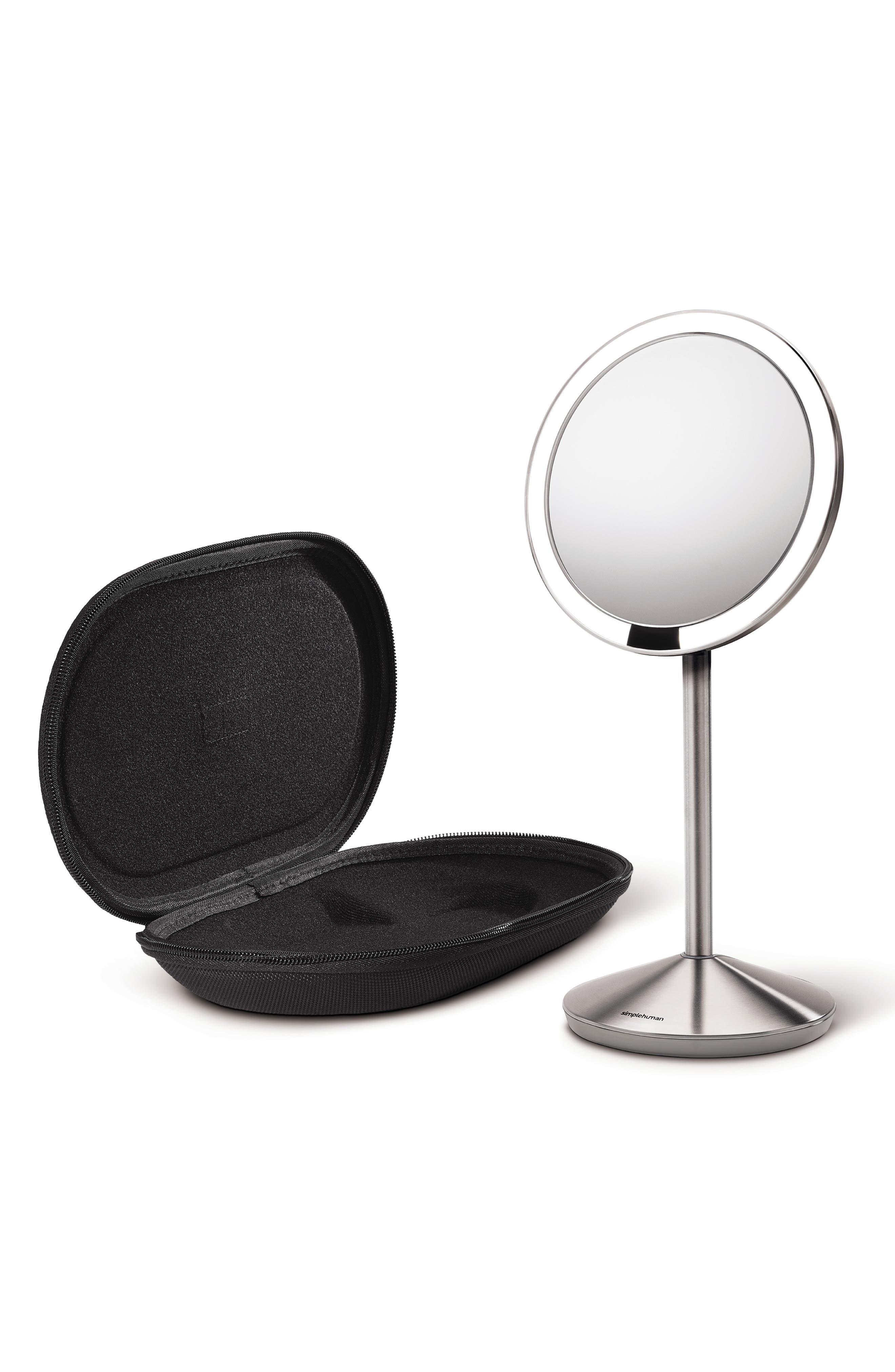Mini Countertop Sensor Makeup Mirror,                             Alternate thumbnail 3, color,                             SILVER
