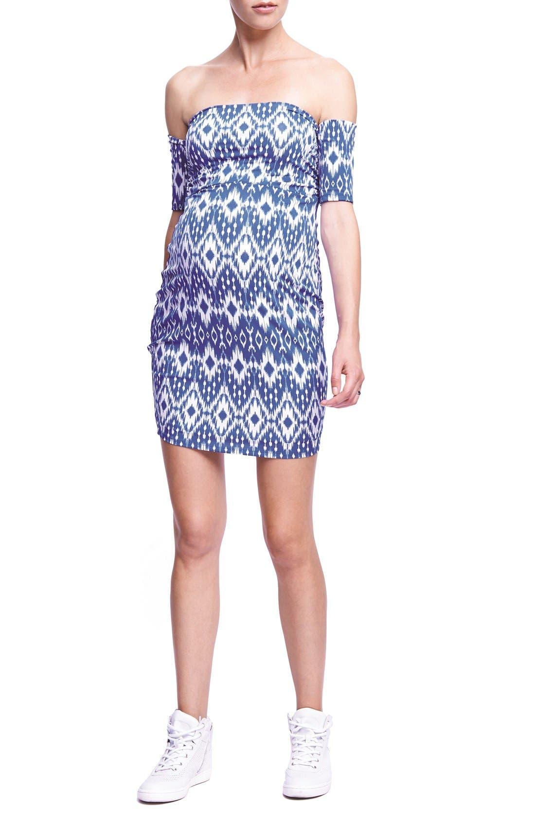 THE URBAN MA Print Off the Shoulder Maternity Dress, Main, color, DENIM BLUE