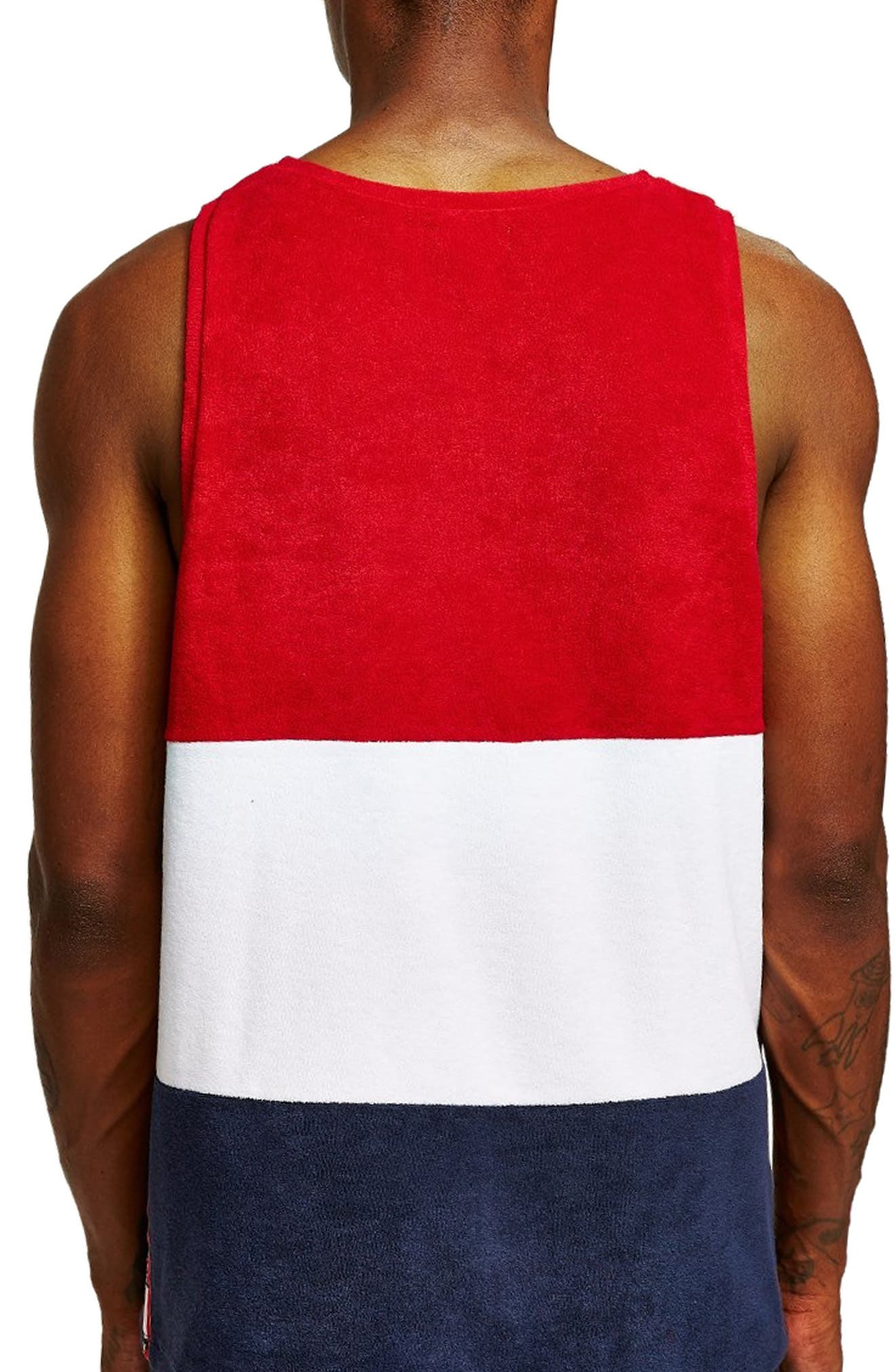 Towelling Tape Tank Top,                             Alternate thumbnail 2, color,                             RED MULTI