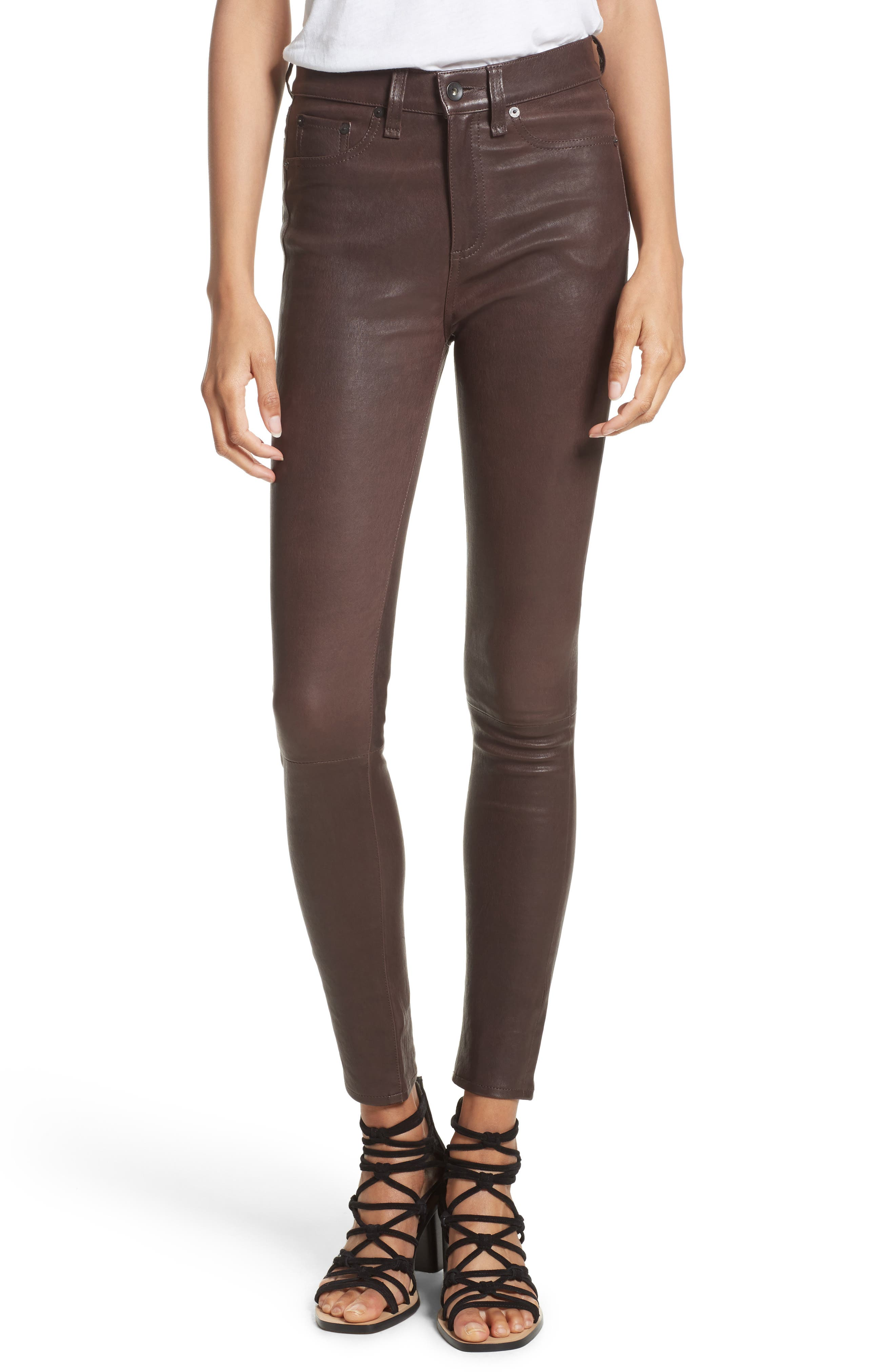 Lambskin Leather Pants,                             Main thumbnail 3, color,