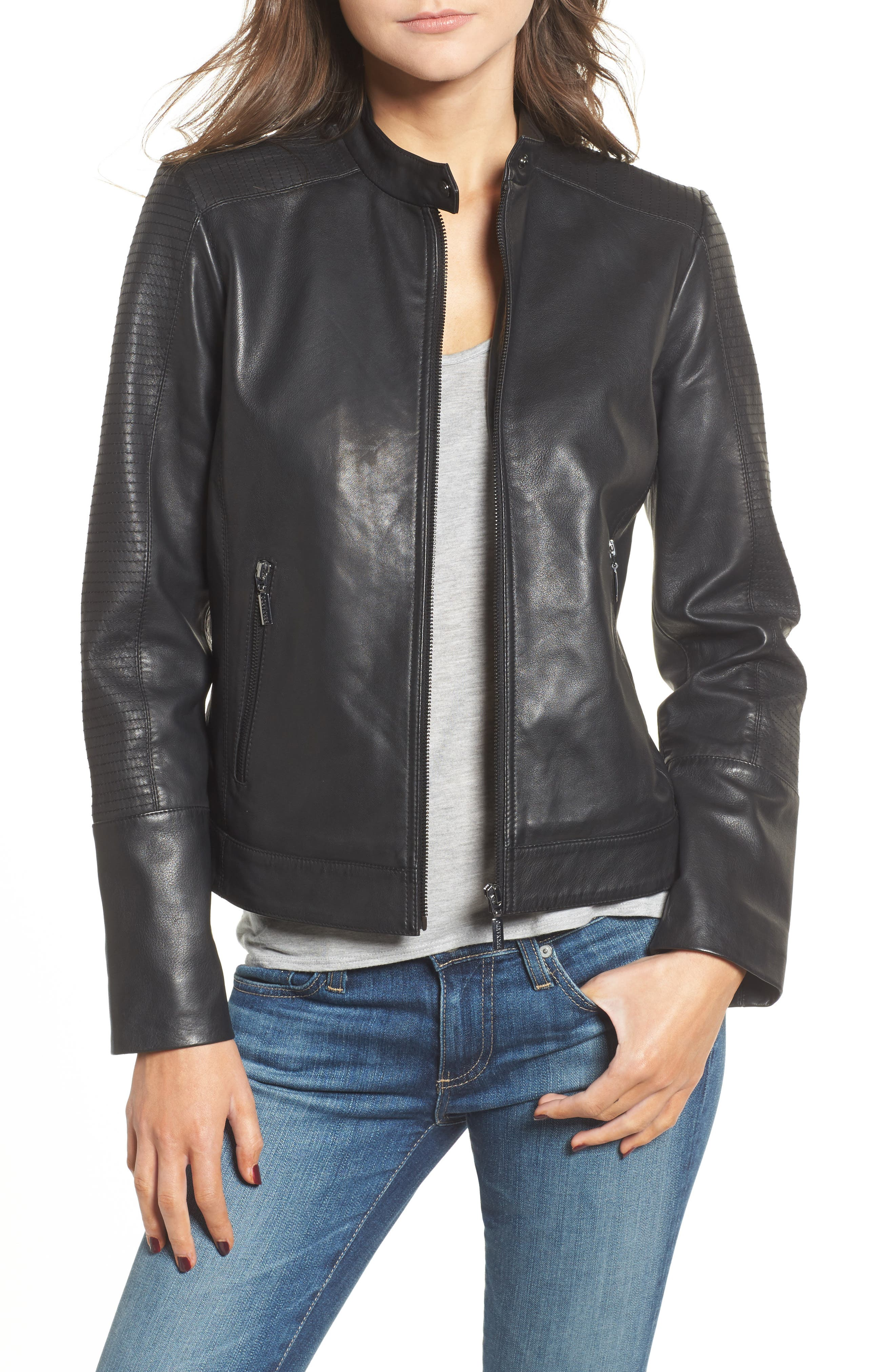 Kirwin Leather Moto Jacket,                         Main,                         color, 001